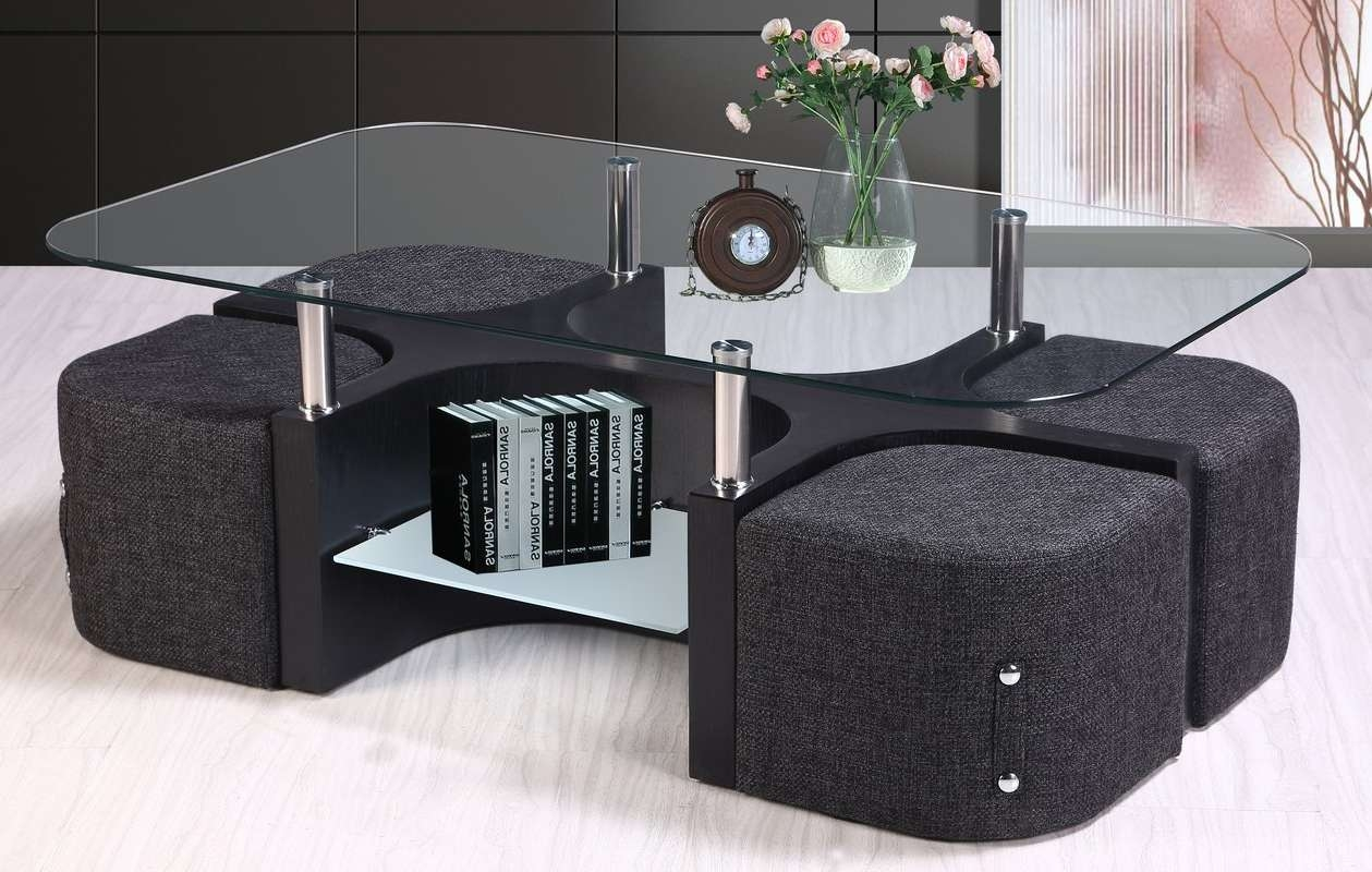 Best Quality Furniture Coffee Table With 4 Nested Stools & Reviews Inside Latest Coffee Table With Stools (View 14 of 20)