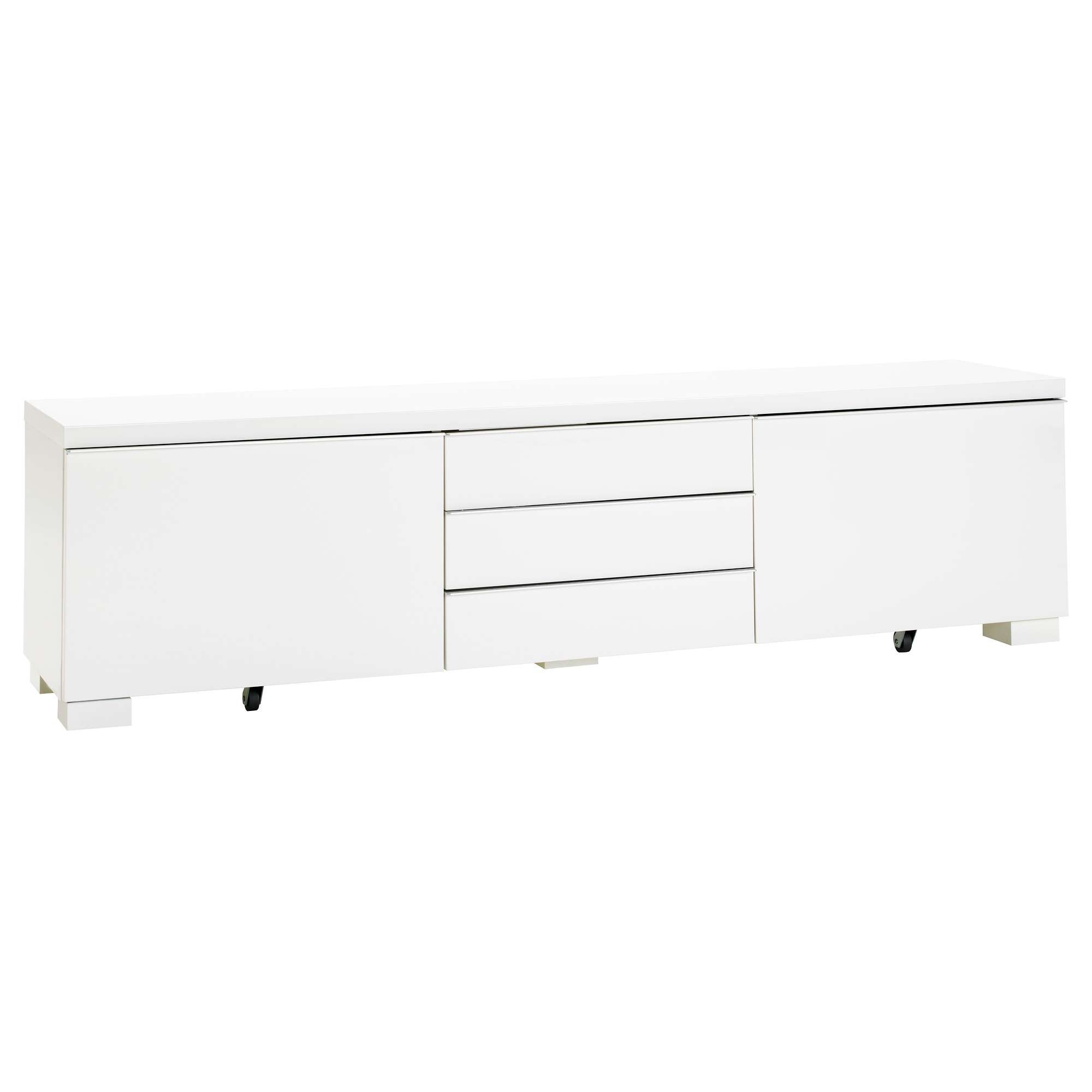 Bestå Burs Tv Bench High Gloss White 180x41 Cm – Ikea Inside White Gloss Ikea Sideboards (View 6 of 20)