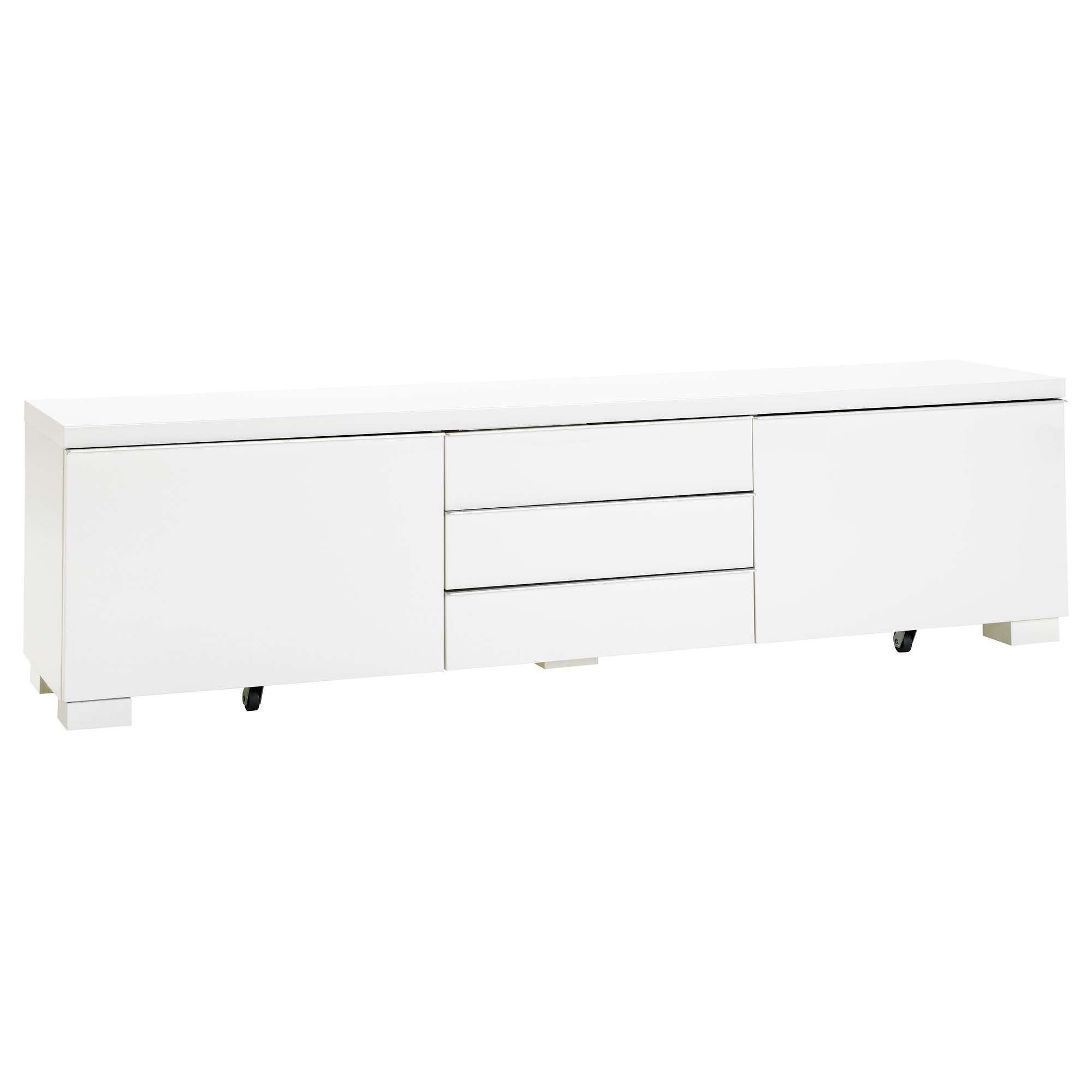 Bestå Burs Tv Bench High Gloss White 180X41 Cm – Ikea Inside White Gloss Ikea Sideboards (View 3 of 20)