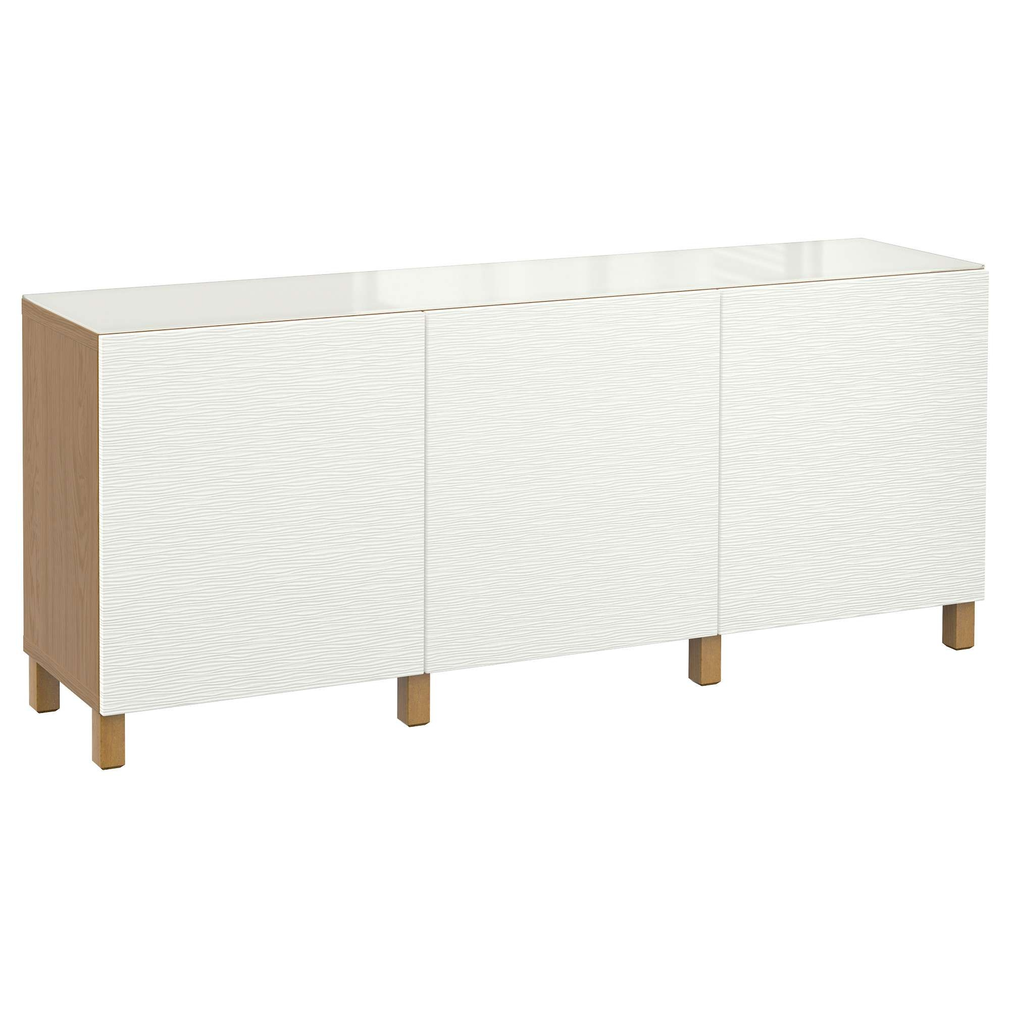 Bestå Storage Combination With Doors Oak Effect/laxviken White For White Gloss Ikea Sideboards (View 5 of 20)