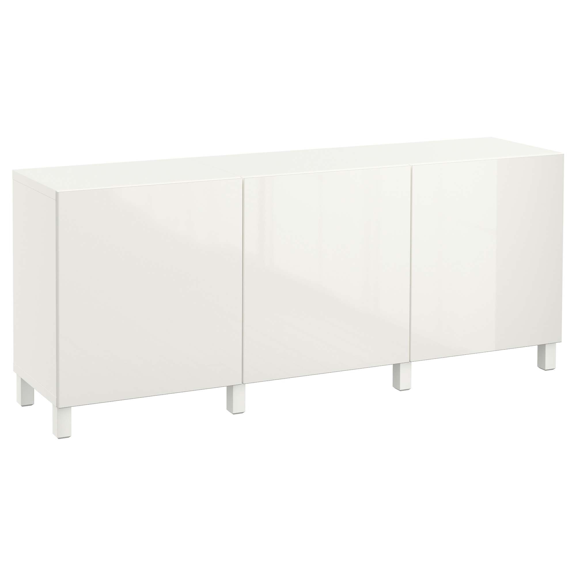 Bestå Storage Combination With Doors – White/selsviken High Gloss With Ikea Sideboards (View 3 of 20)