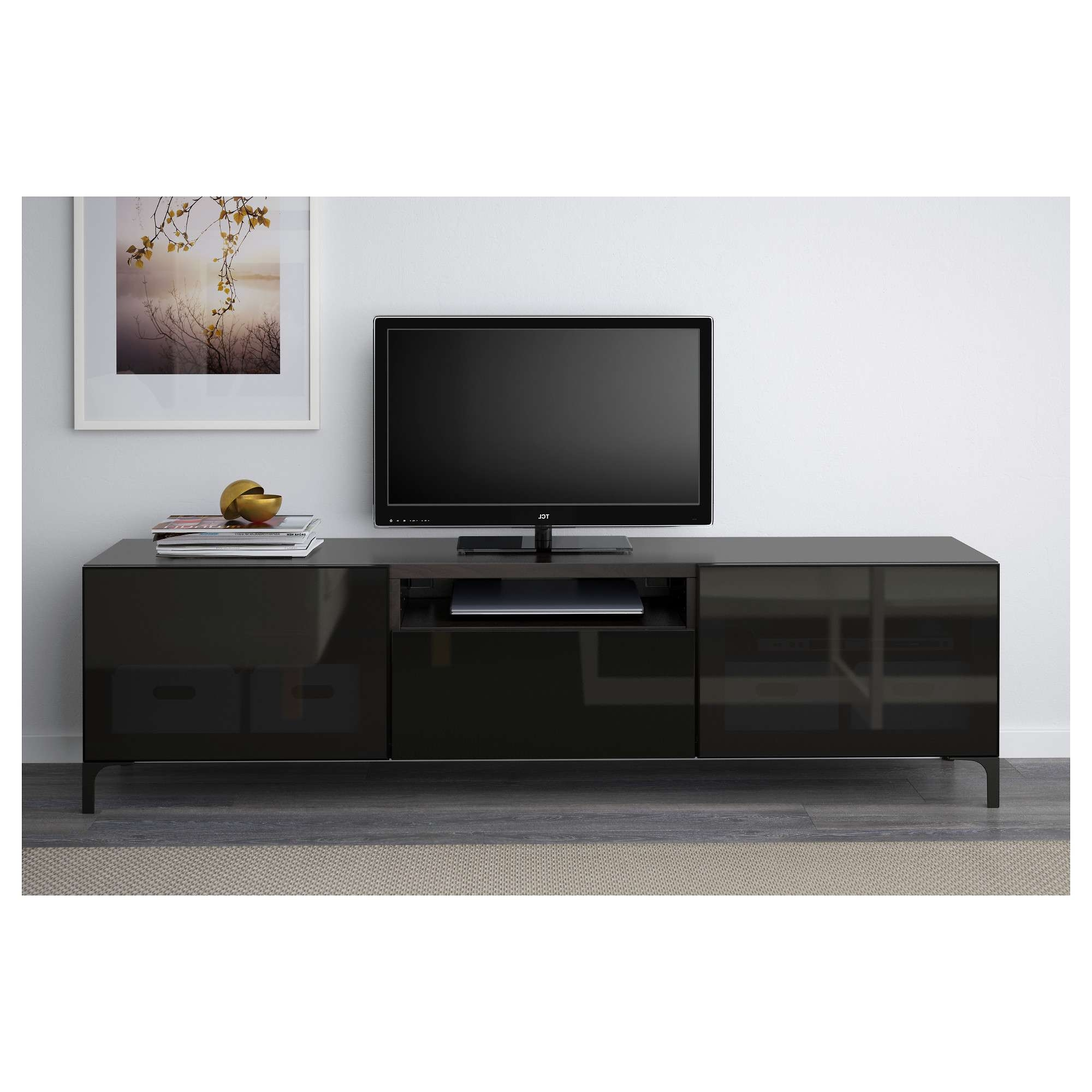 Bestå Tv Bench – Black Brown/selsviken High Gloss/black Clear Regarding Tv Cabinets Black High Gloss (View 19 of 20)