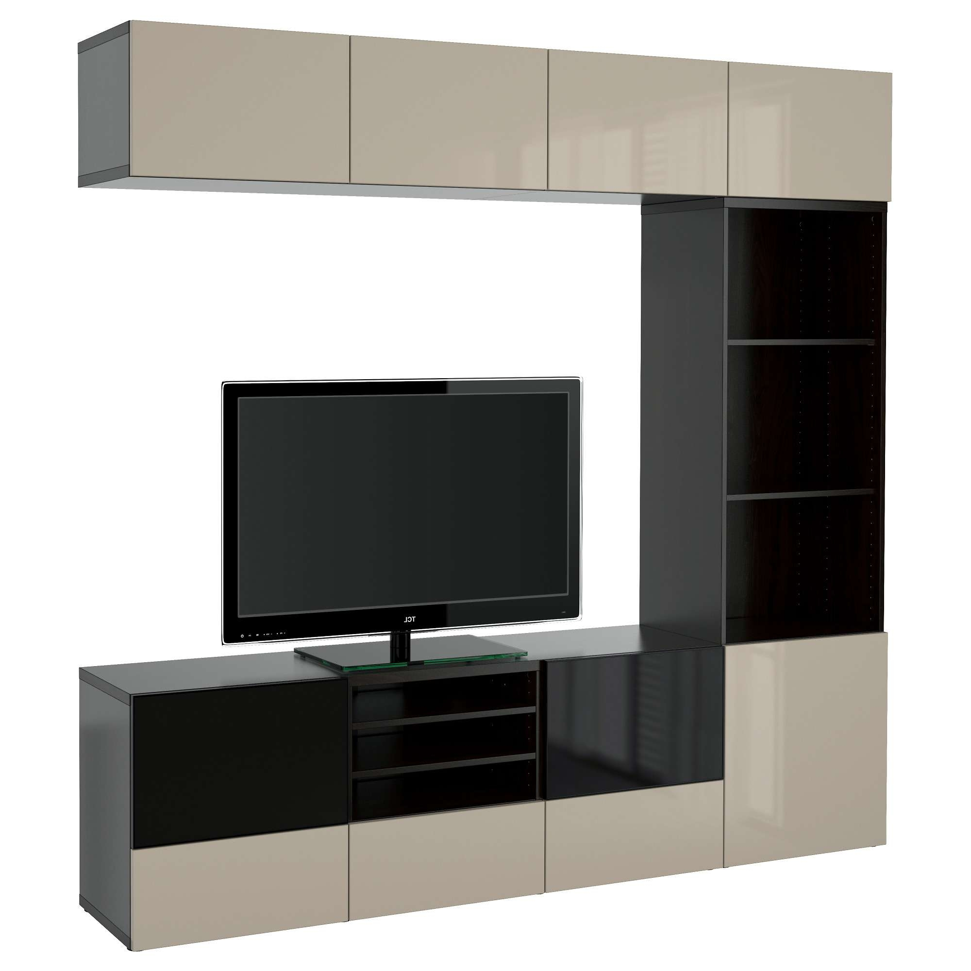 Bestå Tv Storage Combination/glass Doors Black Brown/selsviken With Tv Cabinets With Glass Doors (View 1 of 20)