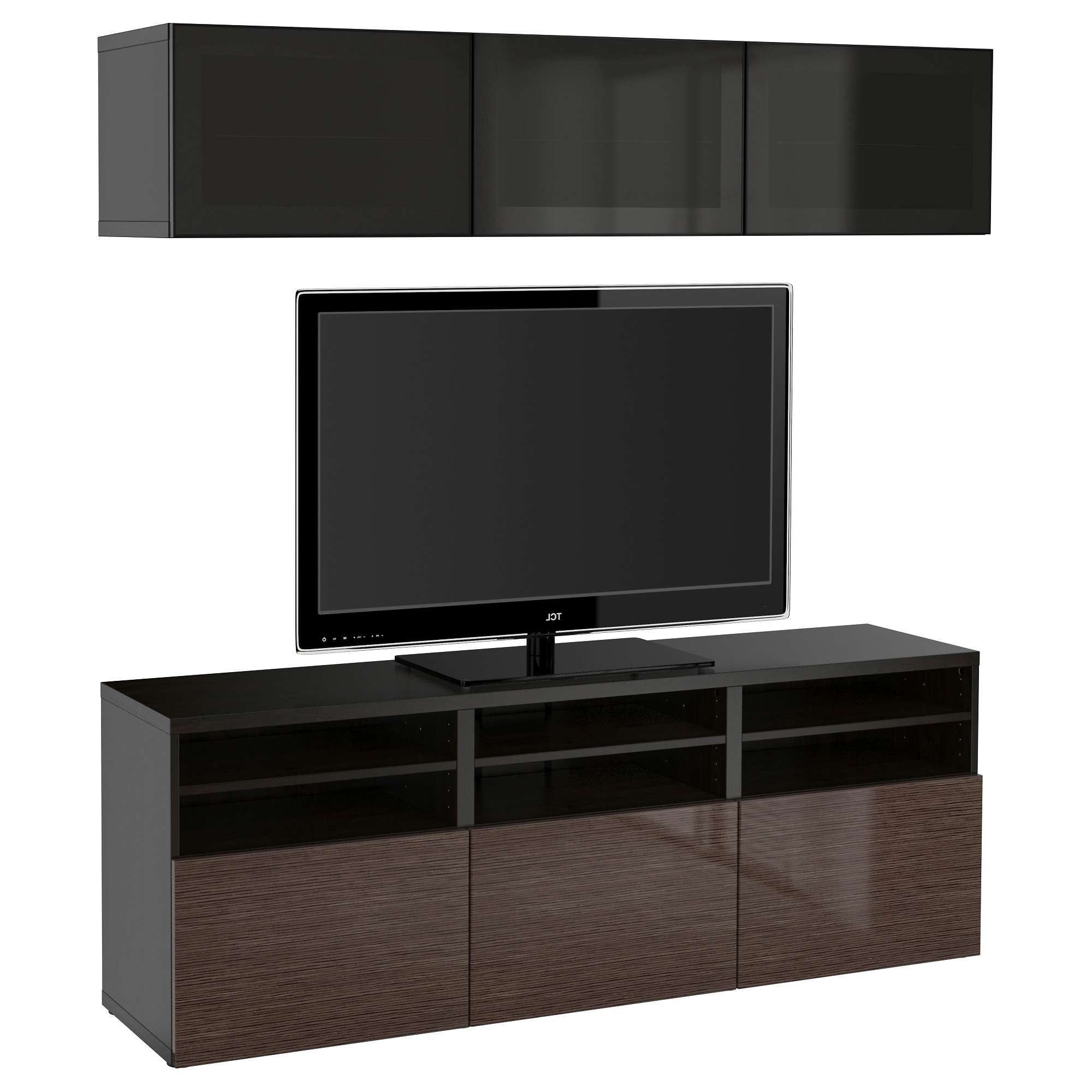 Bestå Tv Storage Combination/glass Doors Black Brown/selsviken Within Tv Cabinets Black High Gloss (View 8 of 20)