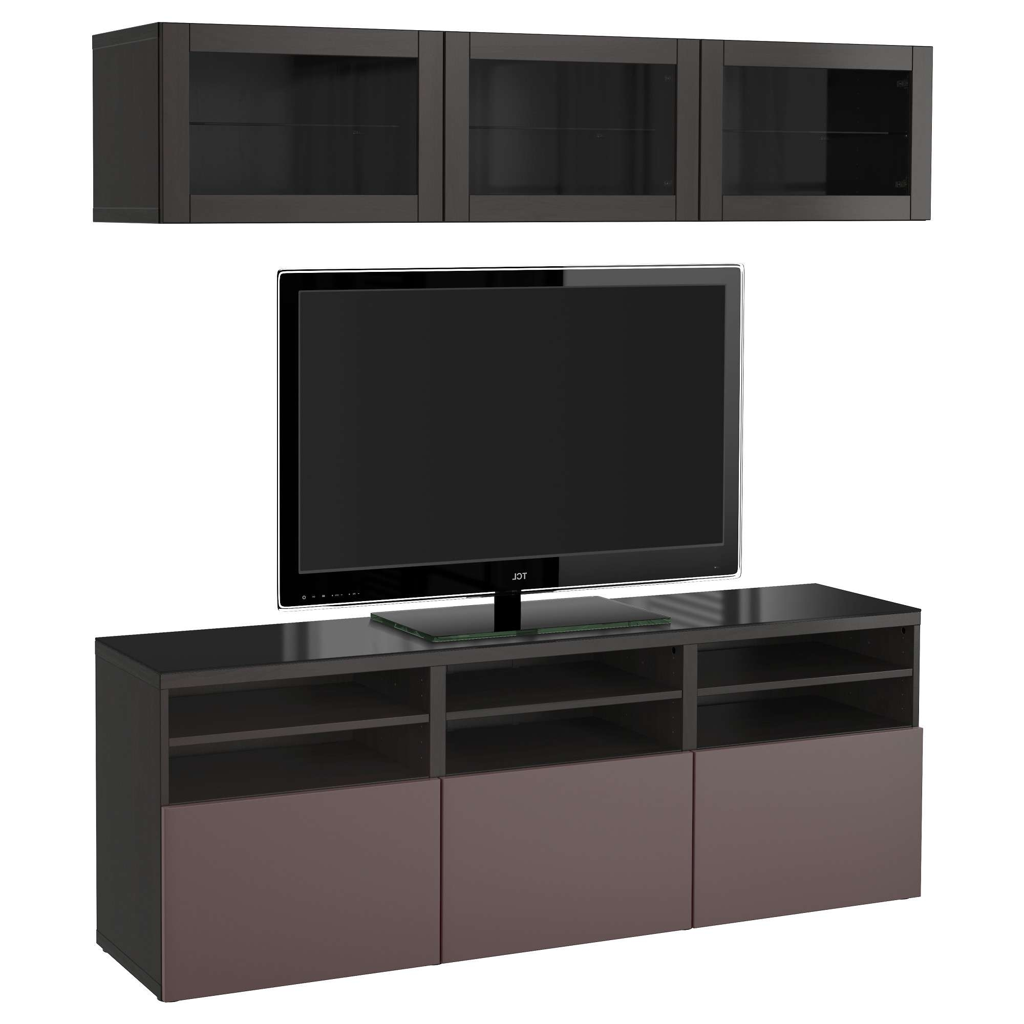 Bestå Tv Storage Combination/glass Doors – Lappviken/sindvik Black Within Black Tv Cabinets With Drawers (View 3 of 20)