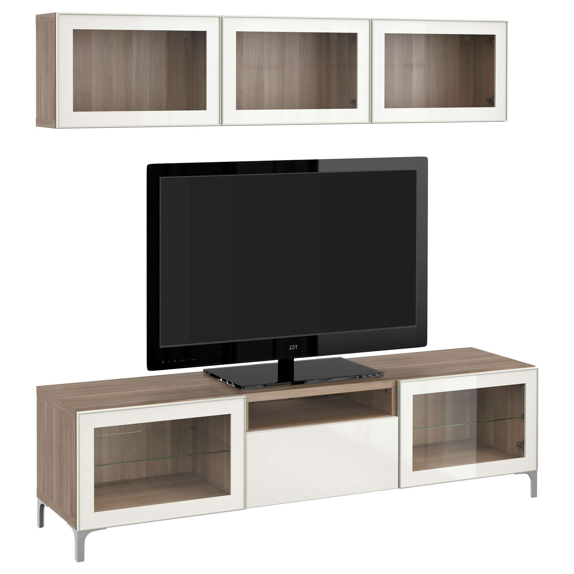 Bestå Tv Storage Combination/glass Doors – Walnut Effect Light Inside Walnut Tv Cabinets With Doors (View 1 of 20)