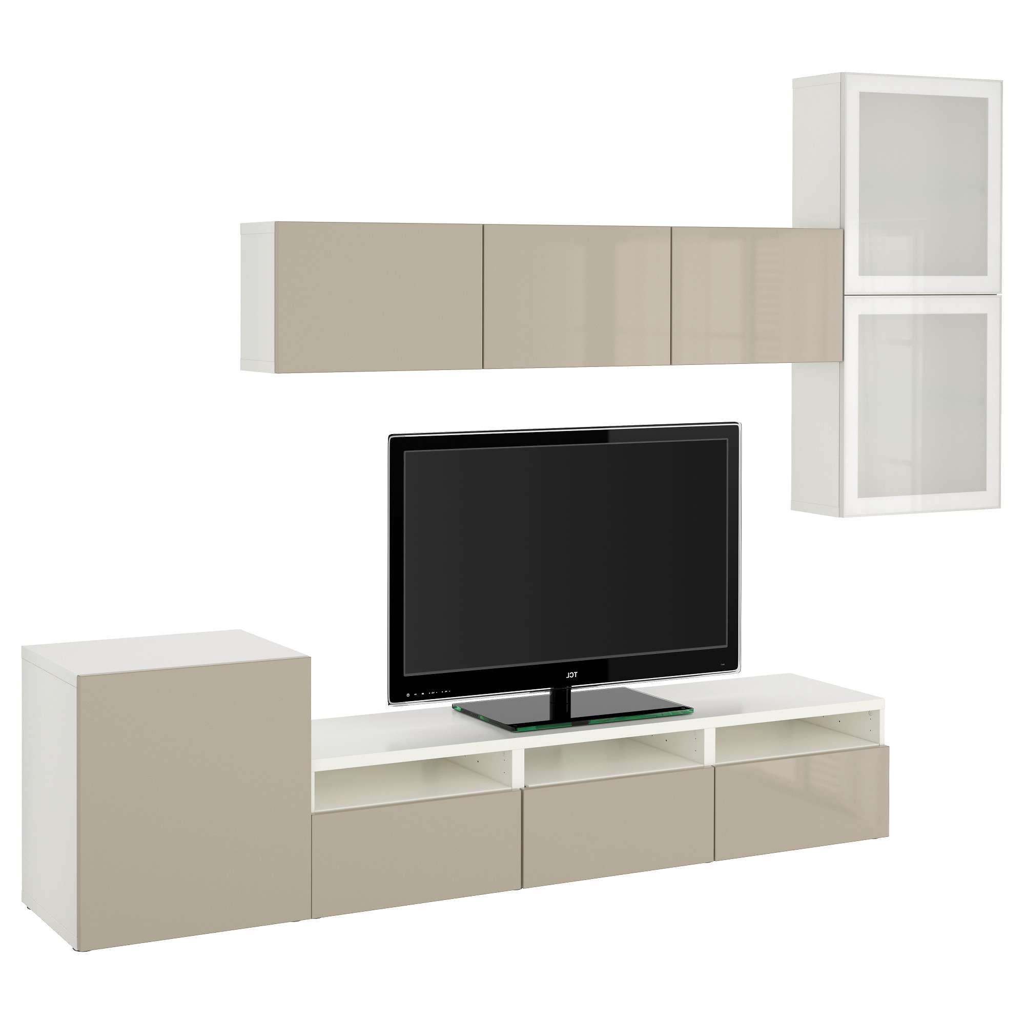 Bestå Tv Storage Combination/glass Doors White/selsviken High With White Gloss Tv Cabinets (View 3 of 20)