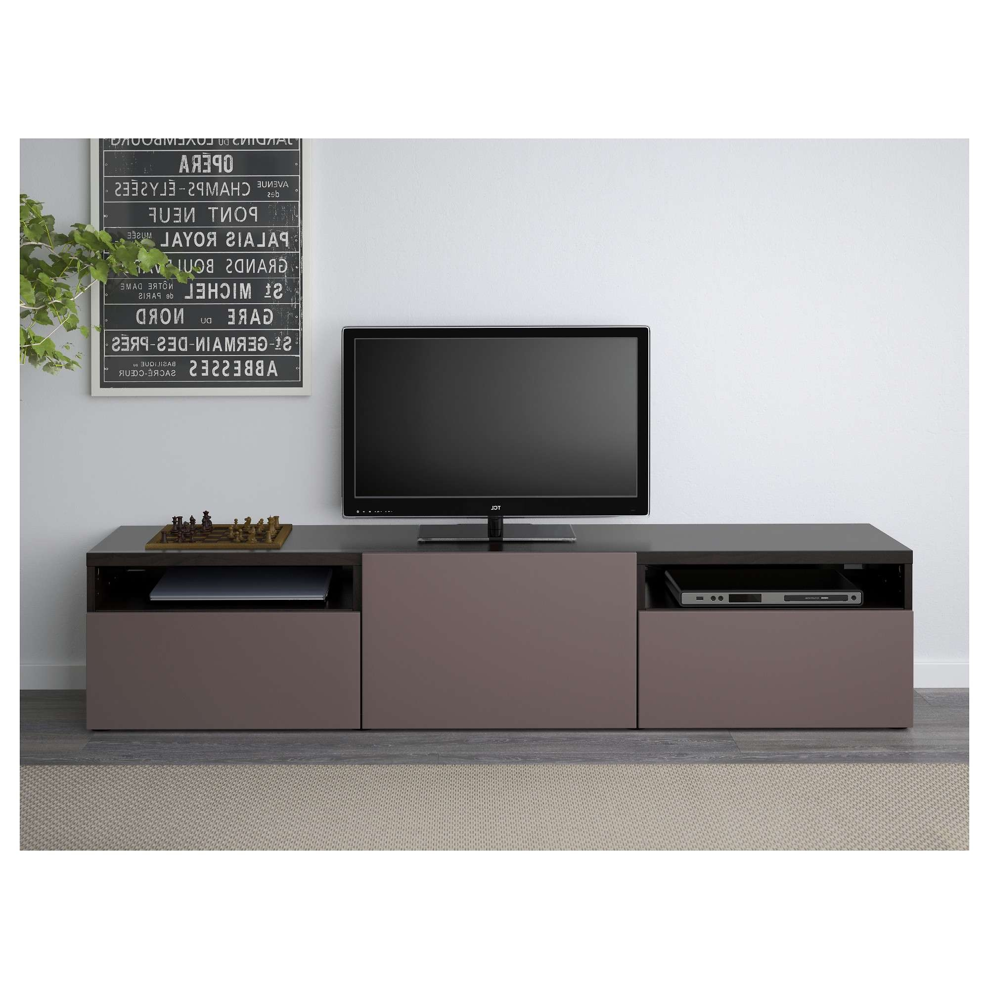 Bestå Tv Unit – Black Brown/selsviken High Gloss/black, Drawer In Tv Cabinets Black High Gloss (View 3 of 20)