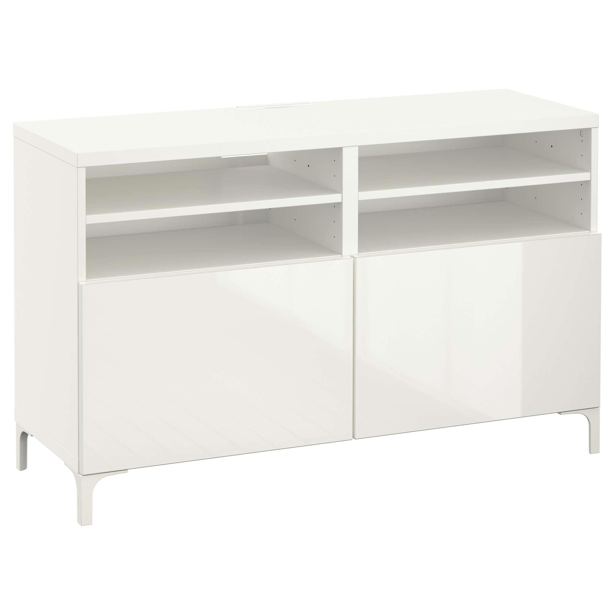 Bestå Tv Unit With Doors – White/selsviken High Gloss/white – Ikea With White Gloss Ikea Sideboards (View 7 of 20)