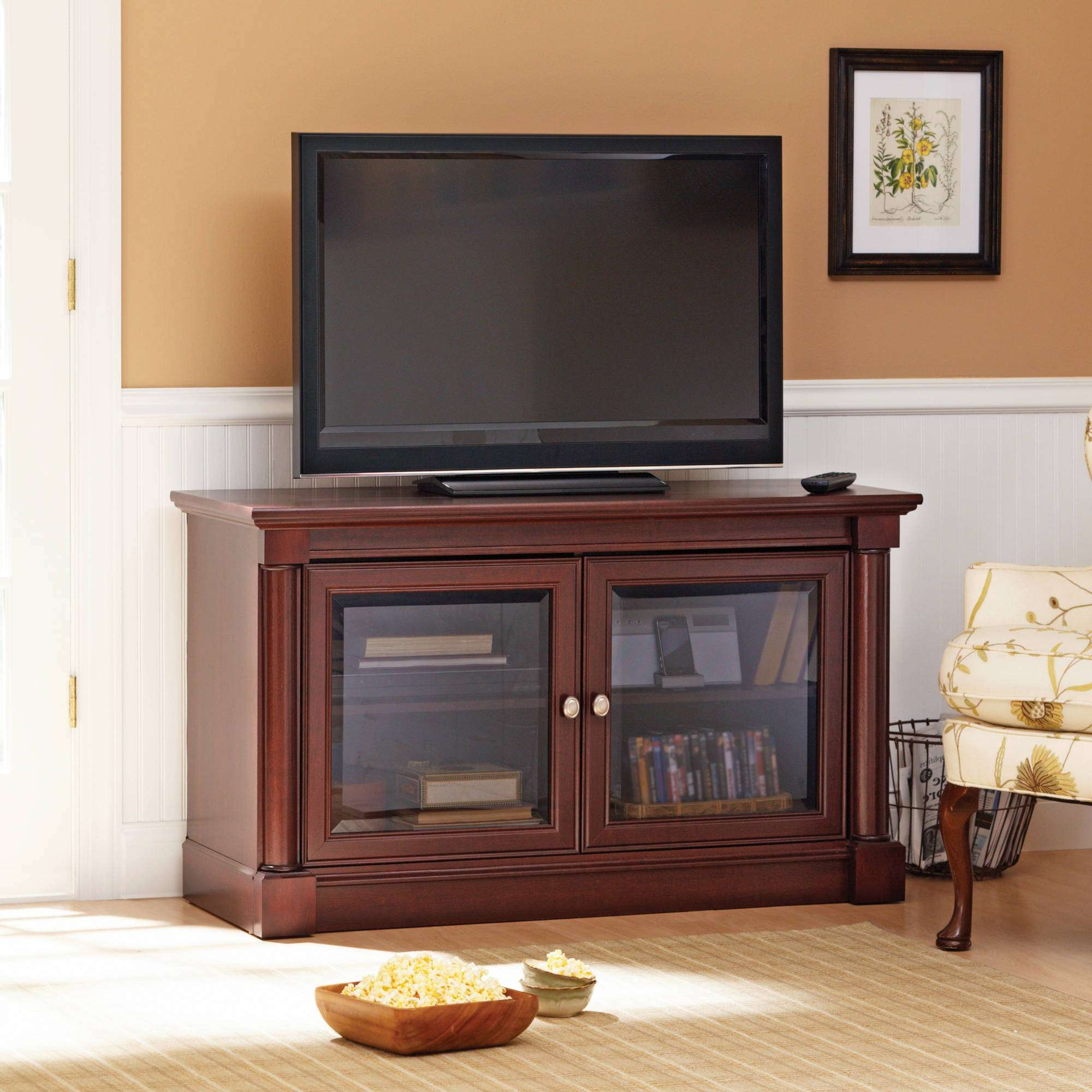 Better Homes And Gardens Ashwood Road Cherry Tv Stand, For Tvs Up Inside Cherry Wood Tv Cabinets (View 3 of 20)