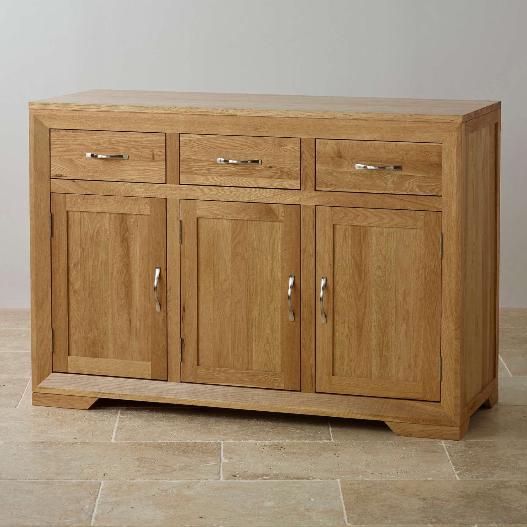 Bevel Natural Solid Oak Large Sideboard | Sideboards | Dining Room Throughout Solid Oak Sideboards (View 1 of 20)