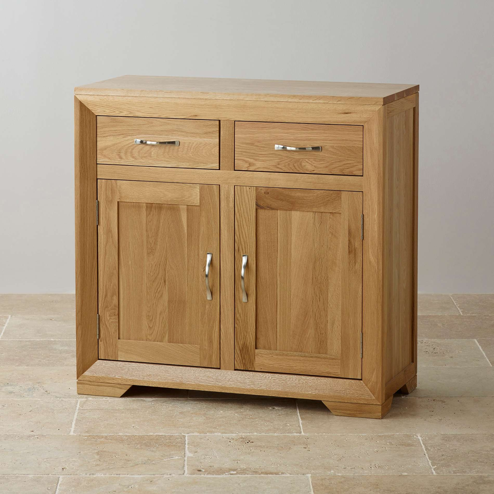 Bevel Small Sideboard In Natural Solid Oak | Oak Furniture Land For Real Wood Sideboards (View 13 of 20)
