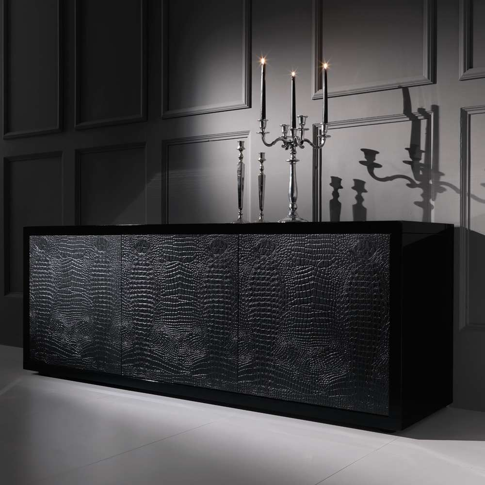 Black Alligator Embossed Leather Buffet Sideboard | Juliettes In Black Sideboards And Buffets (View 3 of 20)