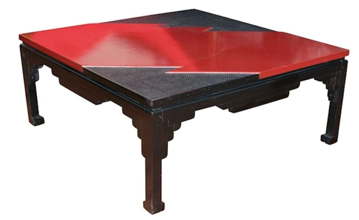 Black And Red Lacquer Coffee Table Naga Antiques U2013 Coffee Table Intended  For Preferred Red Coffee