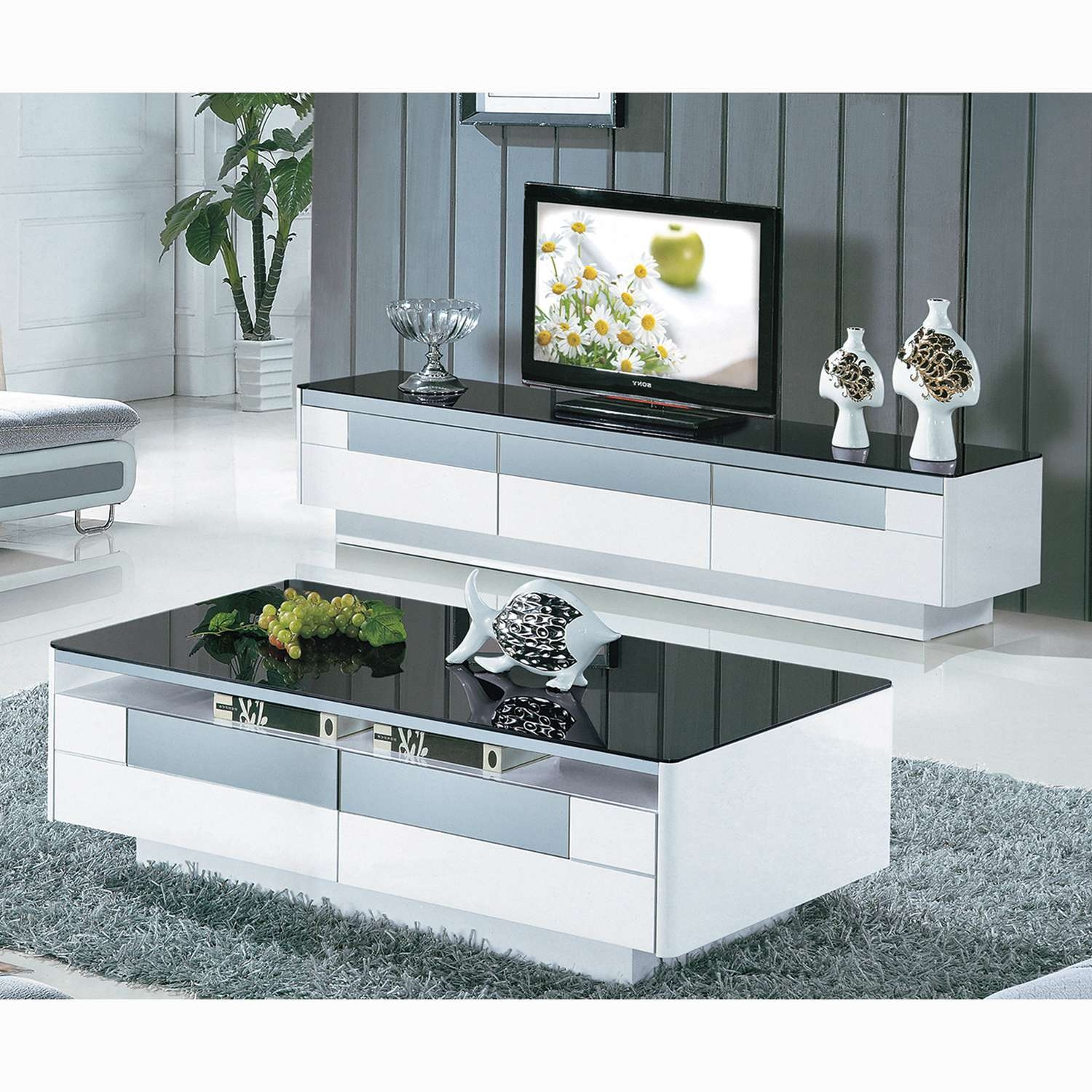Black And White Tempered Glass Coffee Table Living Room Furniture In Stylish Tv Cabinets (View 2 of 20)