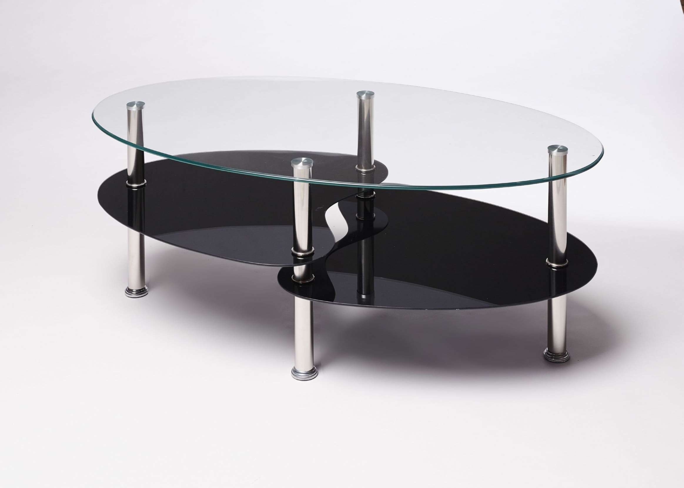 Black Clear Oval Glass And Steel Cara Coffee Table Within Preferred Oval Gloss Coffee Tables (View 3 of 20)