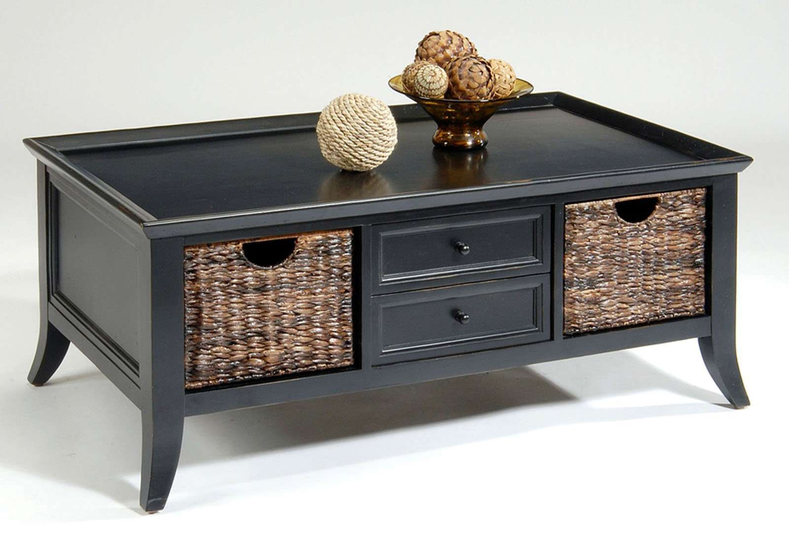Black Coffee Table With Hidden Storage Chocoaddicts Com Under Ba Within Popular Coffee Table With Wicker Basket Storage (View 1 of 20)