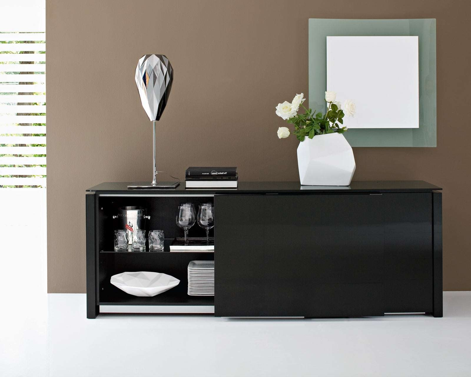 Black Contemporary Dining Room Buffet Furniture Home Xmas : Home Throughout Black Dining Room Sideboards (View 20 of 20)