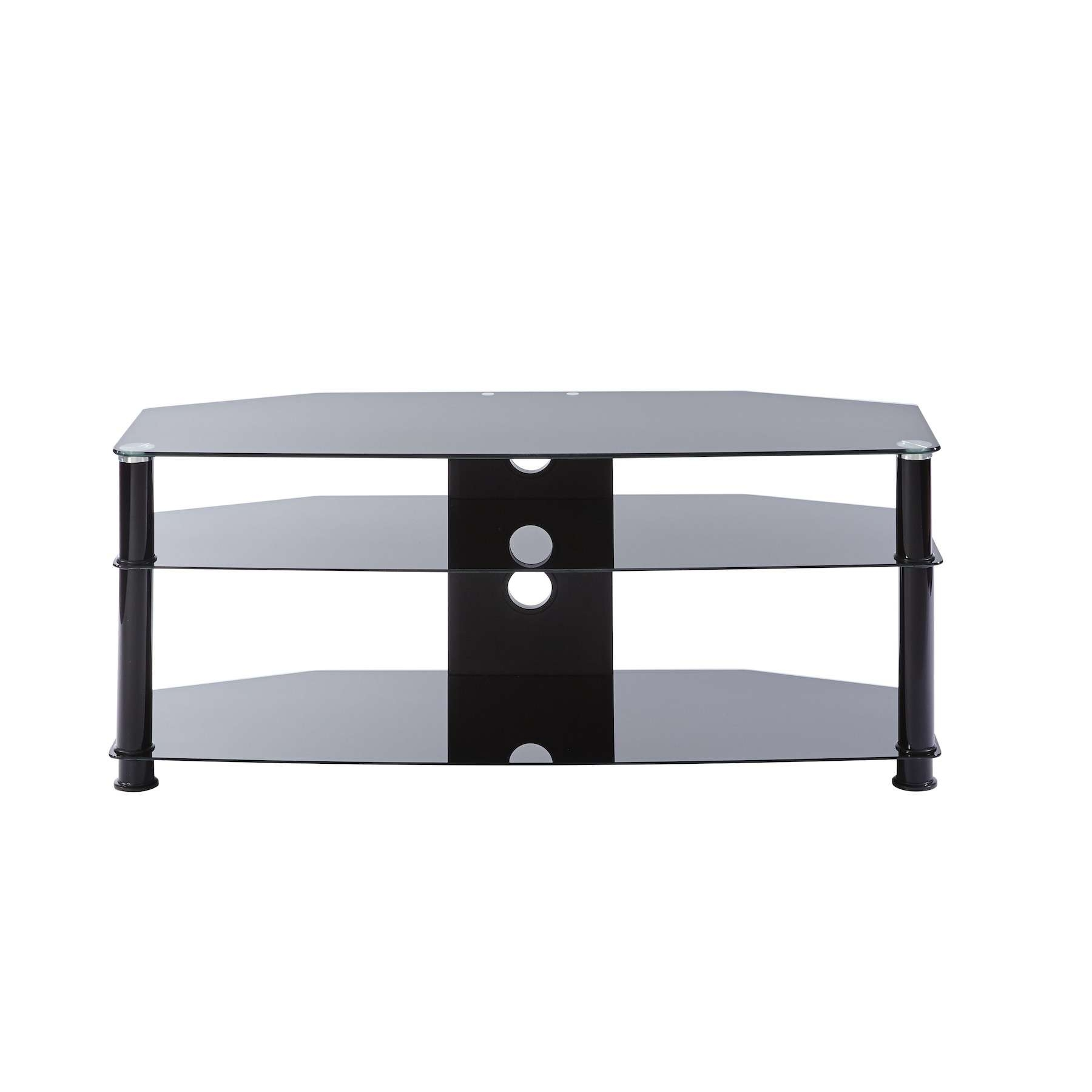 Black Glass 3 Shelf Tv Corner Stand Up To 47 Inch Tv | Mmt Db1000 Within Black Glass Tv Cabinets (View 5 of 20)