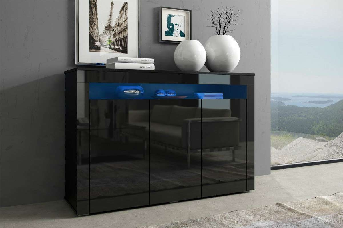 Black Gloss Doors Sideboard Modern Cabinet Cupboard Buffet Unit With Sideboards With Lights (View 12 of 20)