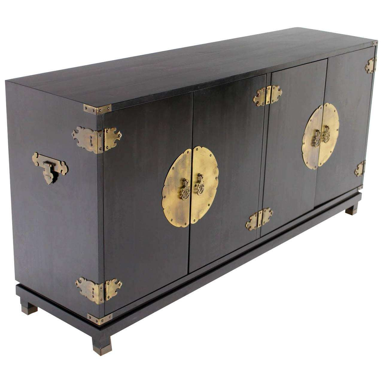 Black Lacquer Oriental Mid Century Modern Sideboard Or Credenza Throughout Credenzas And Sideboards (View 2 of 20)