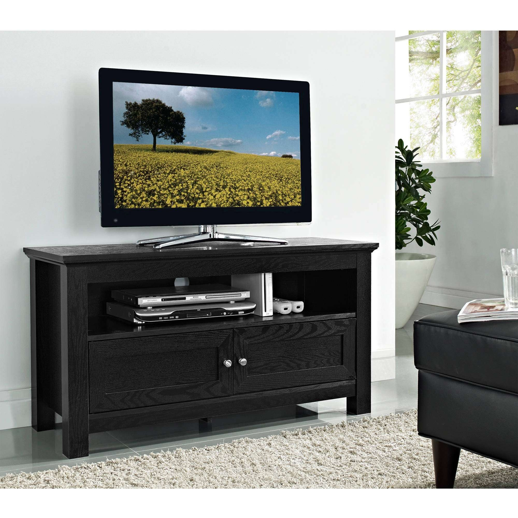Black Laminated Wooden Tall Tv Stand For Bedroom Using Double Regarding Tall Black Tv Cabinets (View 5 of 20)