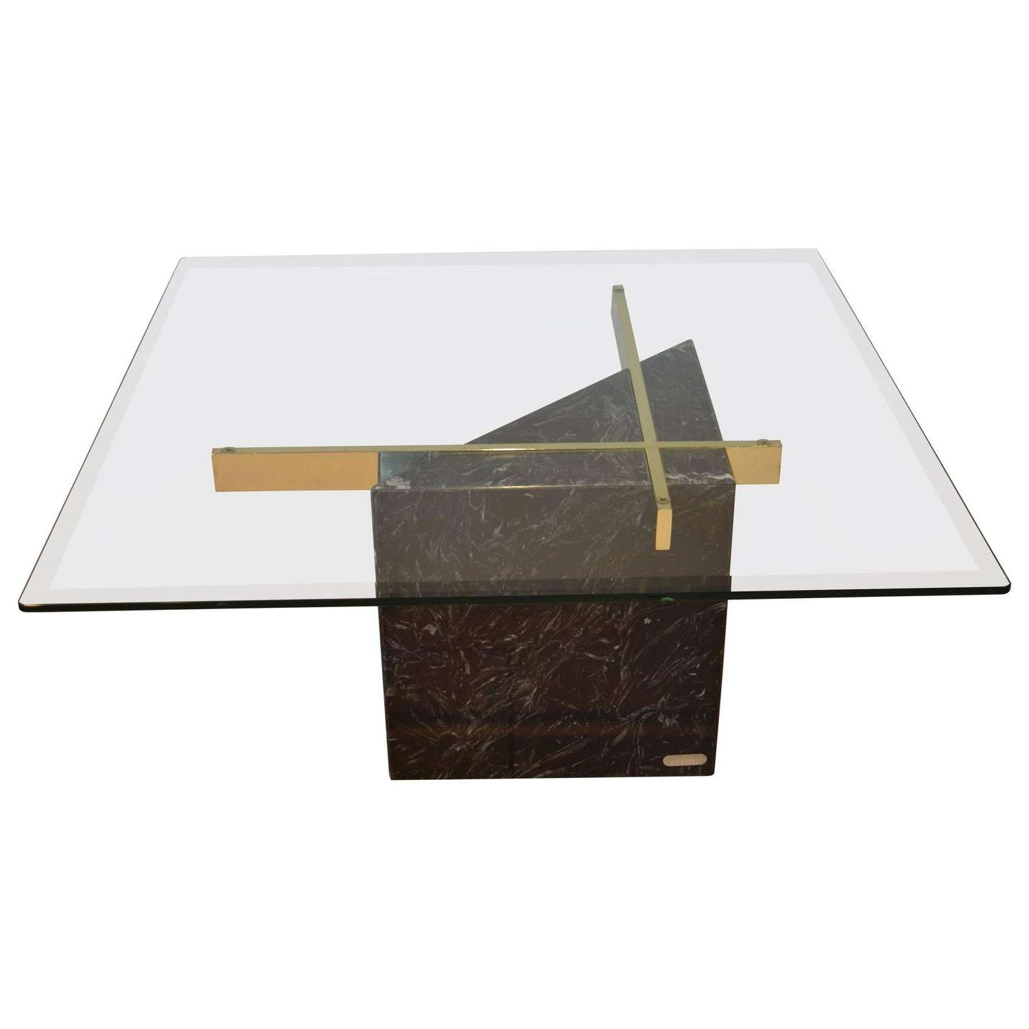 Black Marquina Marble Base And Glass Top Coffee Tableartedi Within Most Up To Date Marble Base Glass Top Coffee Table (View 4 of 20)