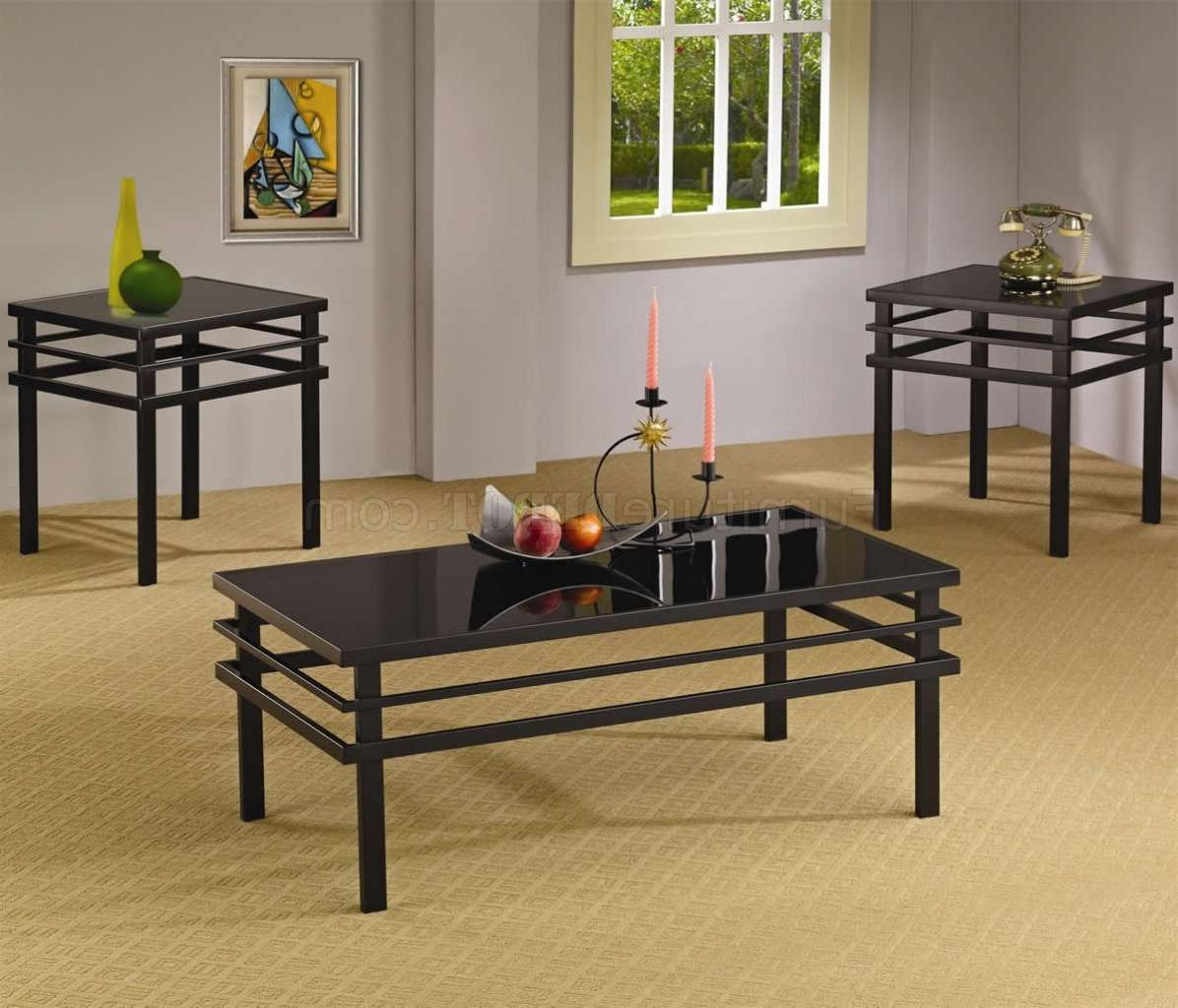 Black Metal Base & Glass Top Modern 3pc Coffee Table Set Throughout Famous Dark Glass Coffee Tables (View 13 of 20)