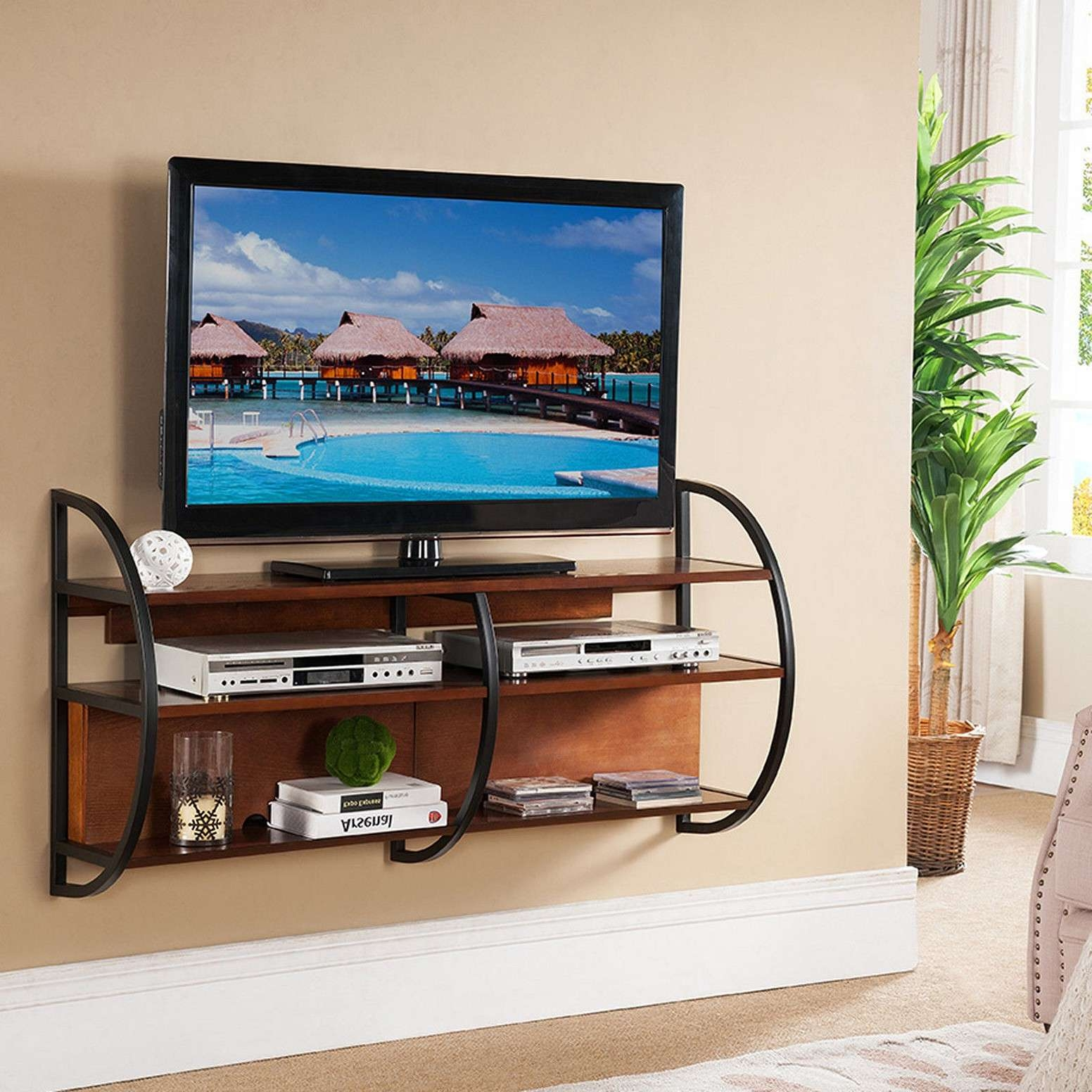 Black Metal Floating Tv Stand With Brown Wooden Media Shelf Carts Pertaining To Floating Tv Cabinets (View 3 of 20)