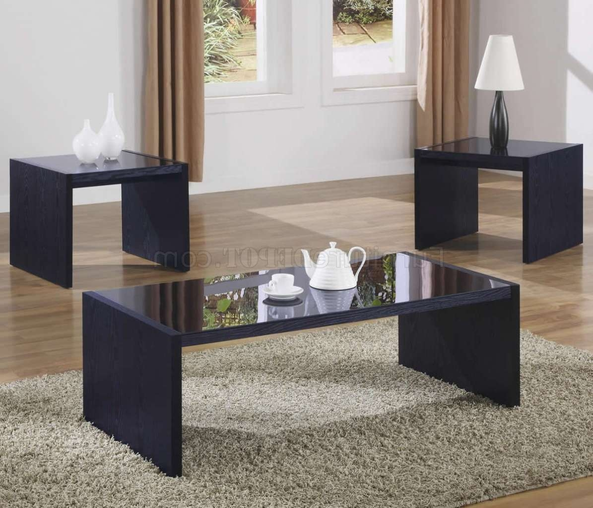 Black Modern 3pc Coffee Table Set W Glass Tops Pertaining To Latest