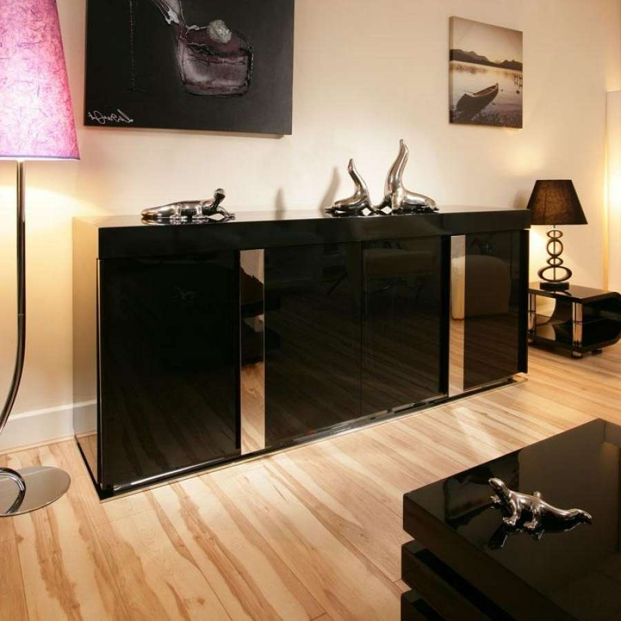 Black Sideboard Buffet Gloss — New Decoration : Elegant Black With Black Sideboards Cabinets (View 4 of 20)