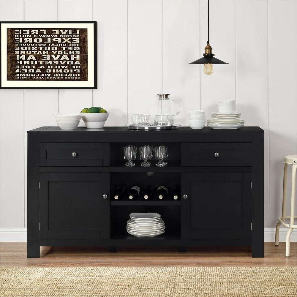 Black – Sideboard – Sideboards & Buffets – Kitchen & Dining Room For Black Dining Room Sideboards (View 3 of 20)