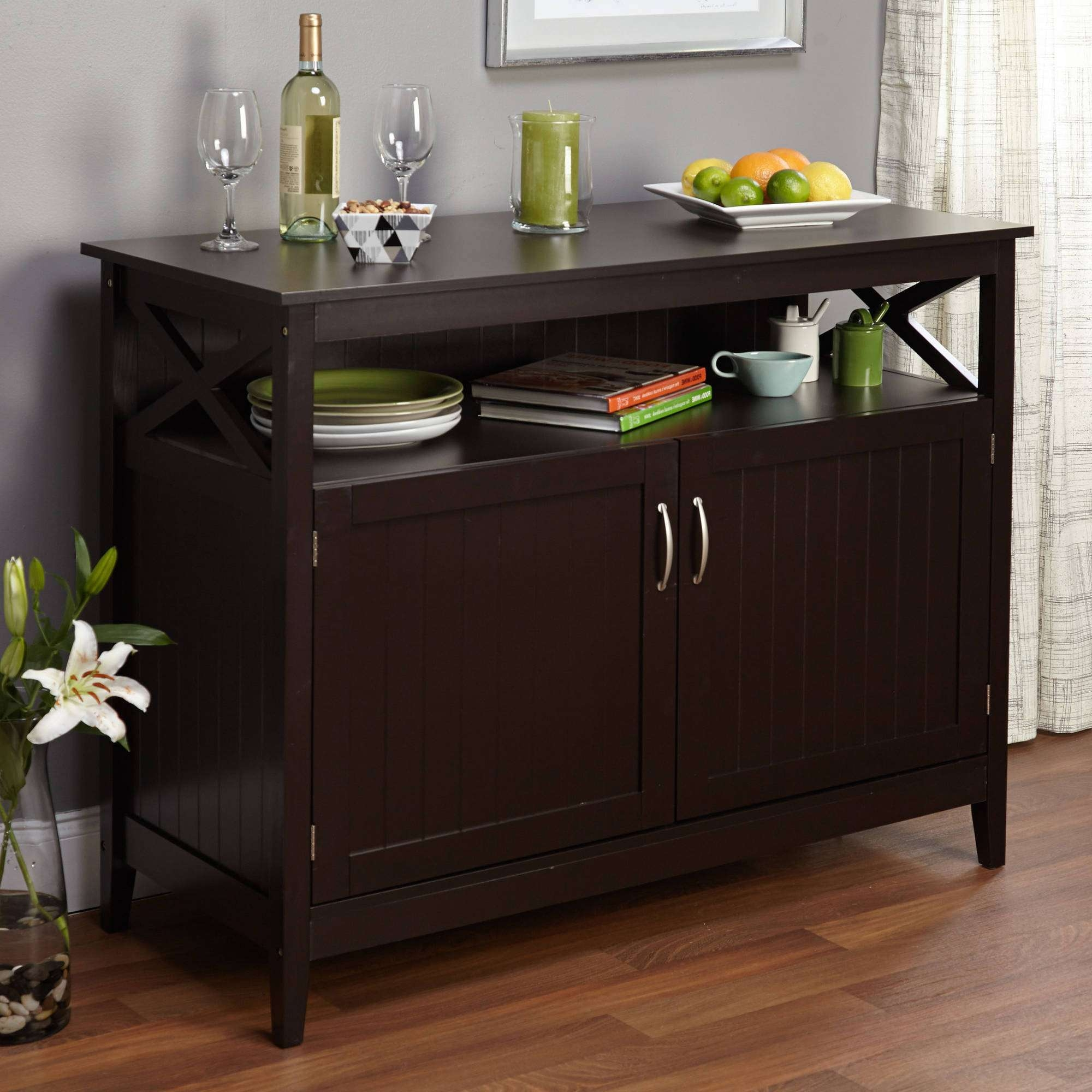Black Sideboard With Glass Doors Images – Doors Design Ideas In Black Buffet Sideboards (View 15 of 20)