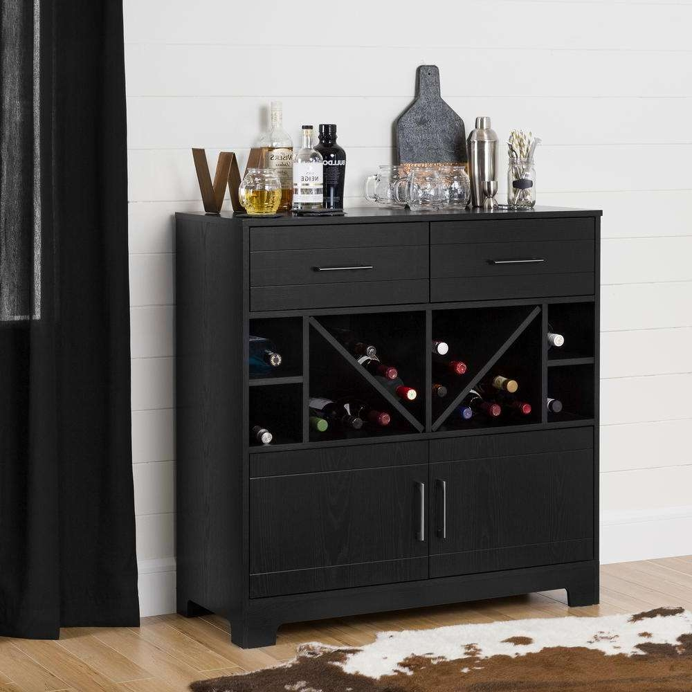 Black – Sideboards & Buffets – Kitchen & Dining Room Furniture With Regard To Black And Silver Sideboards (View 9 of 20)