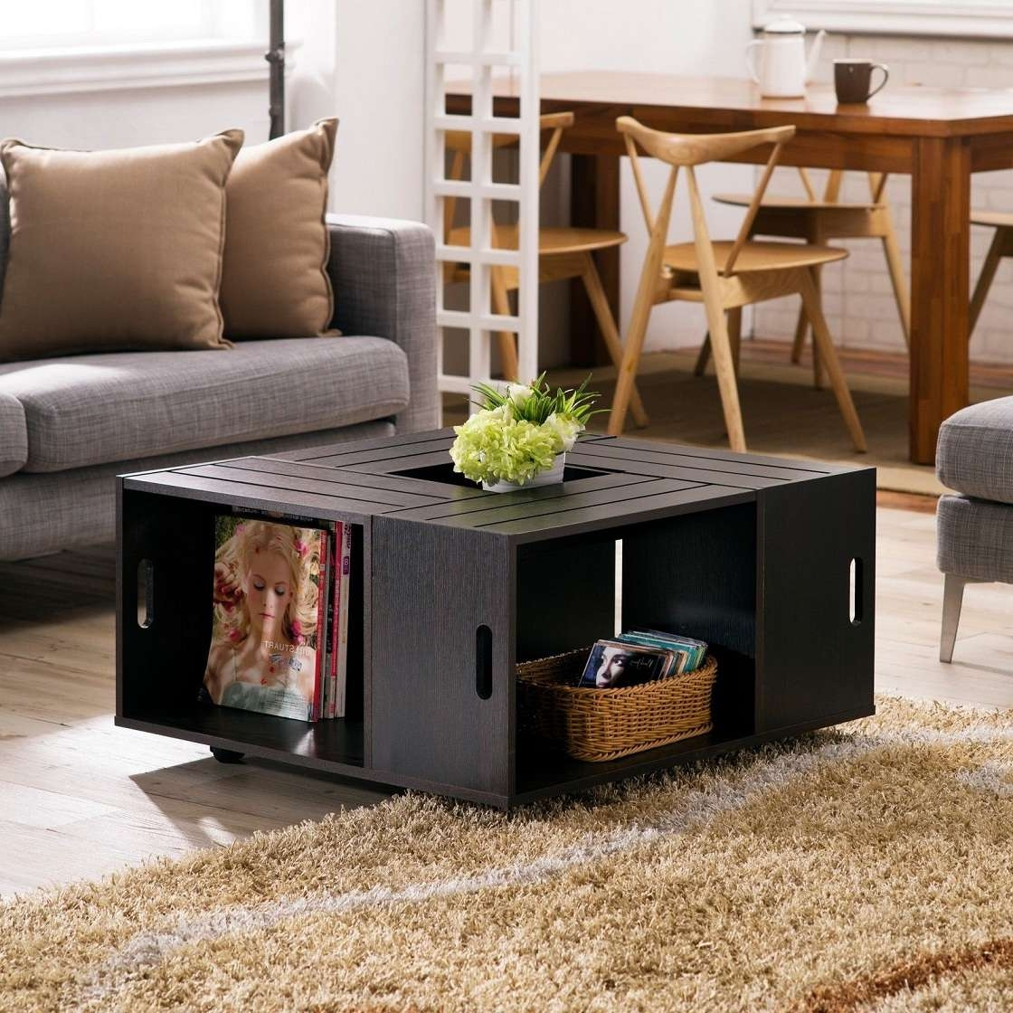 Black Square Coffee Table With Open Shelf Storage Throughout Widely Used Small Coffee Tables With Shelf (View 1 of 20)