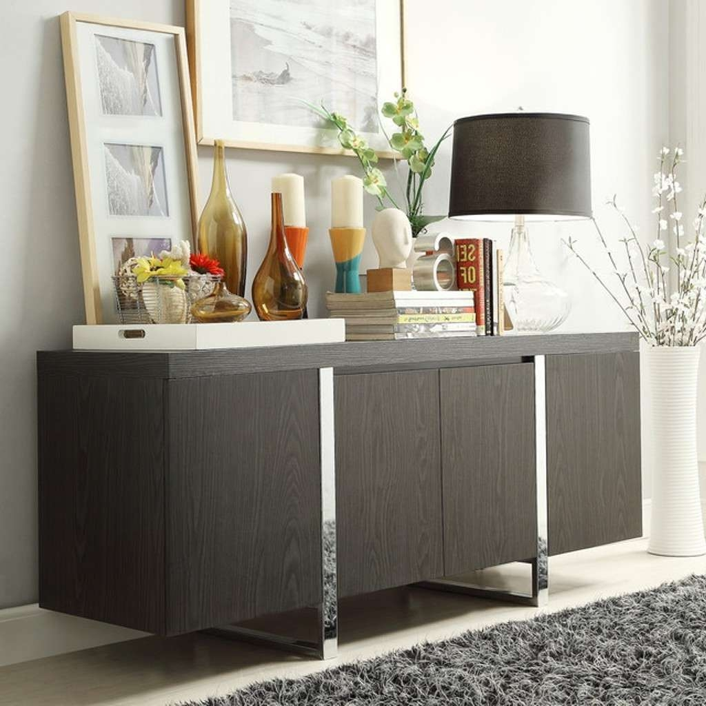 Black Table Lamp And Stylish Picture Using Grey Rug For Modern For Black Dining Room Sideboards (View 17 of 20)