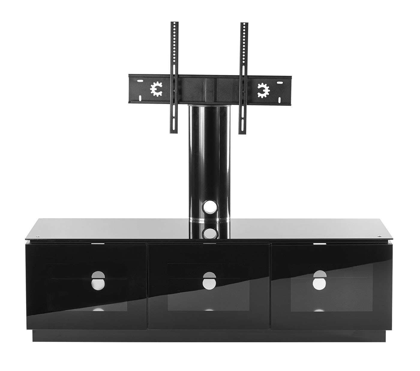 Black Tv Cabinet With Mount For Up To 65 Inch Tv | Mmt D1500 Xarm Intended For Black Gloss Tv Cabinets (View 7 of 20)