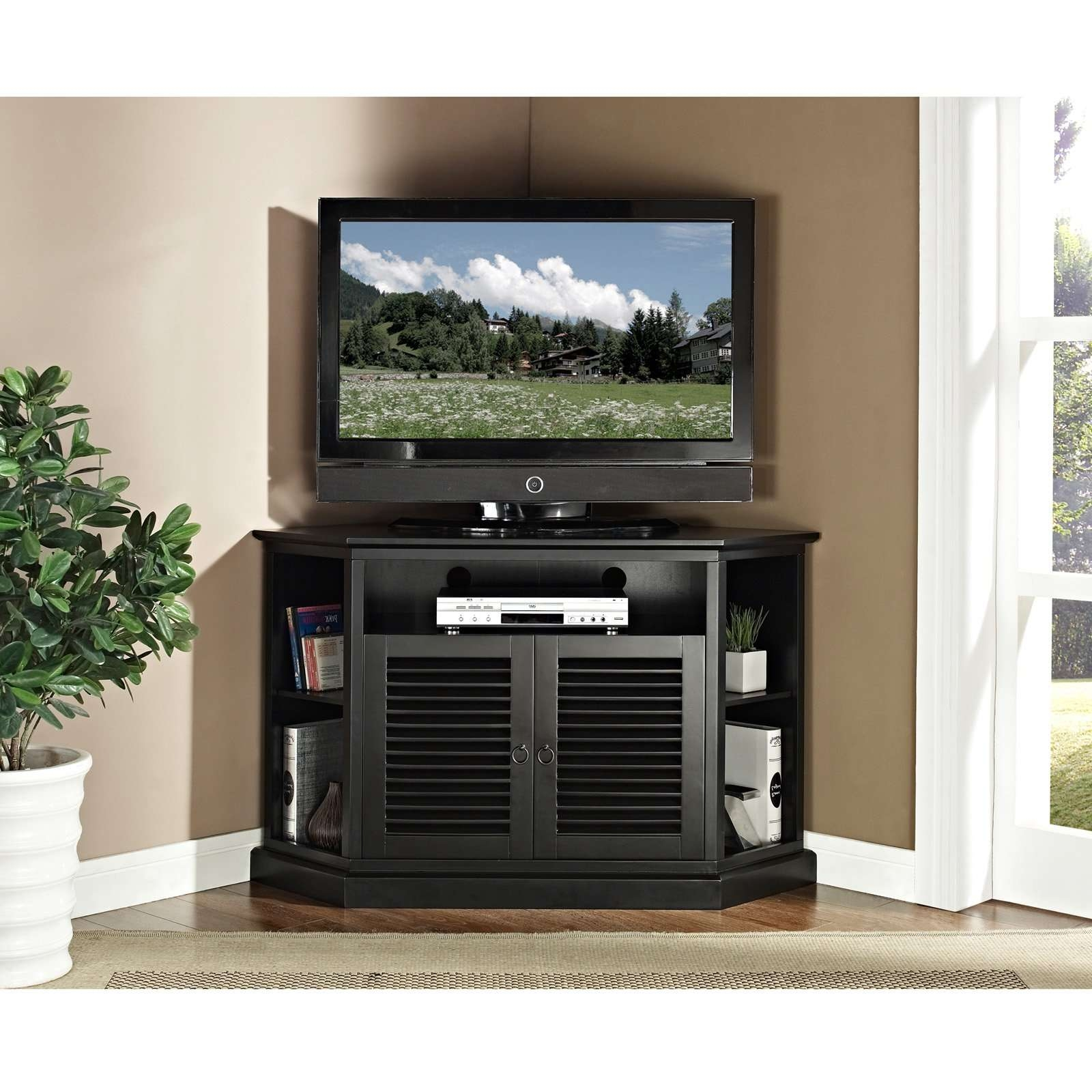 Black Tv Stand Cabinet With Wooden Doors And Corner Shelf For Regarding Black Corner Tv Cabinets With Glass Doors (View 16 of 20)