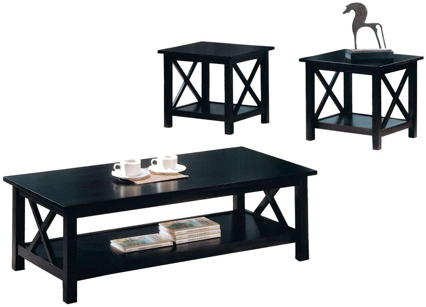 Black Wood Coffee Table Set – Steal A Sofa Furniture Outlet Los In 2018 Black Coffee Tables (View 7 of 20)