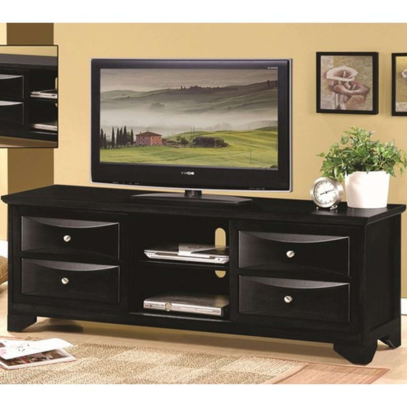 Black Wood Tv Stand – Steal A Sofa Furniture Outlet Los Angeles Ca With Regard To Black Tv Cabinets With Drawers (View 3 of 20)