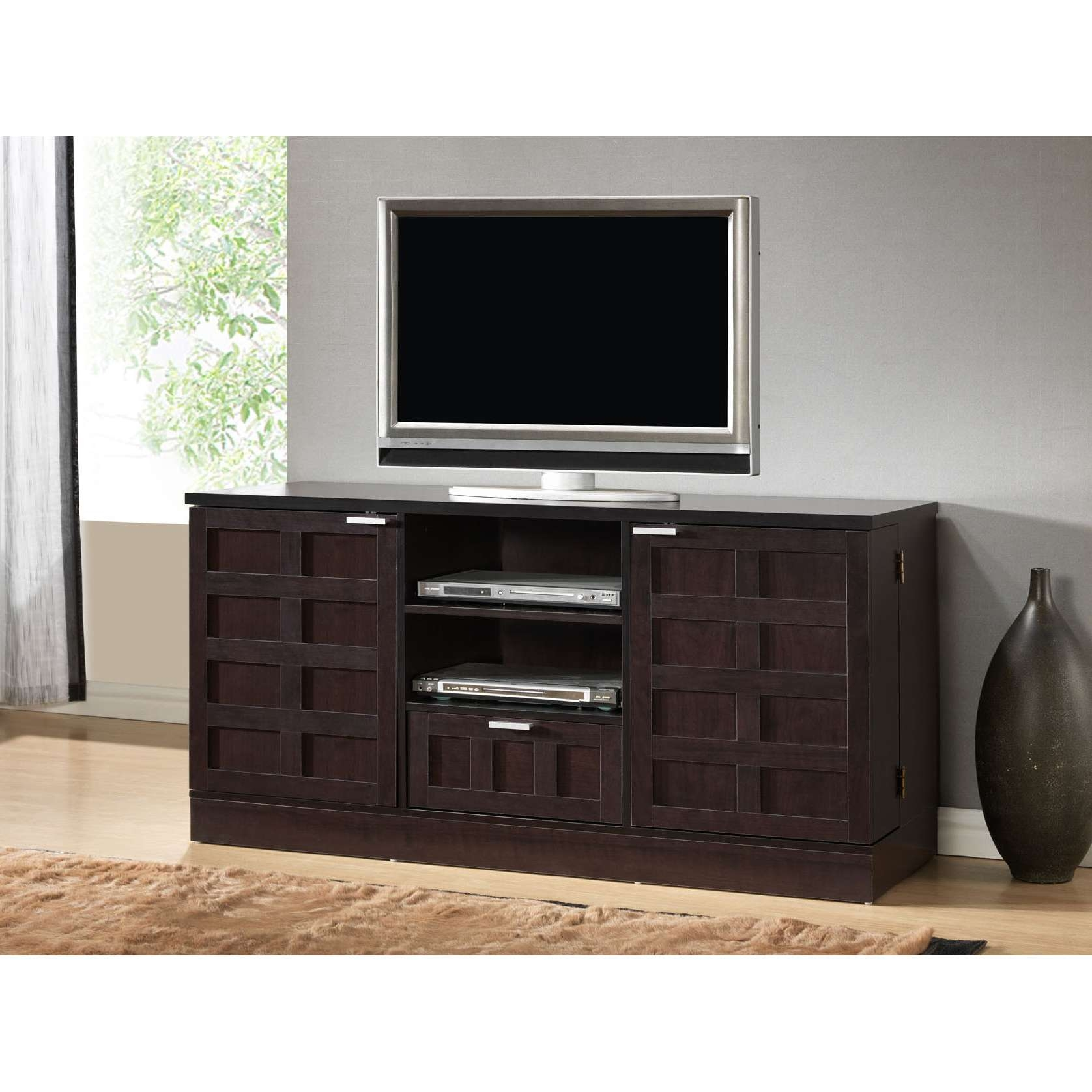 Black Wooden Tv Cabinet With Doors And Racks Also Single Drawer On Regarding Tv Cabinets With Drawers (View 8 of 20)