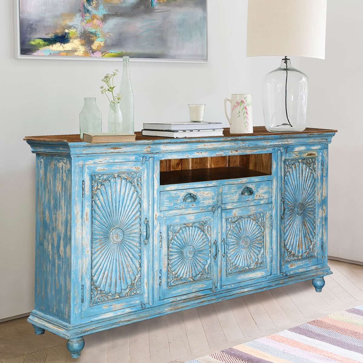 Blue Starburst Handcrafted Mango Wood 2 Drawer Buffet Cabinet Pertaining To Blue Buffet Sideboards (View 4 of 20)