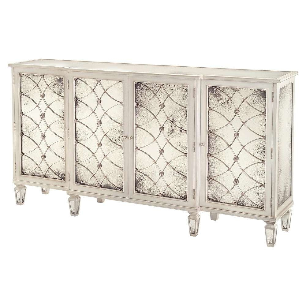 Bonet Hollywood Regency Grillwork Antique White Mirrored Sideboard Inside Mirrored Sideboards (View 3 of 20)