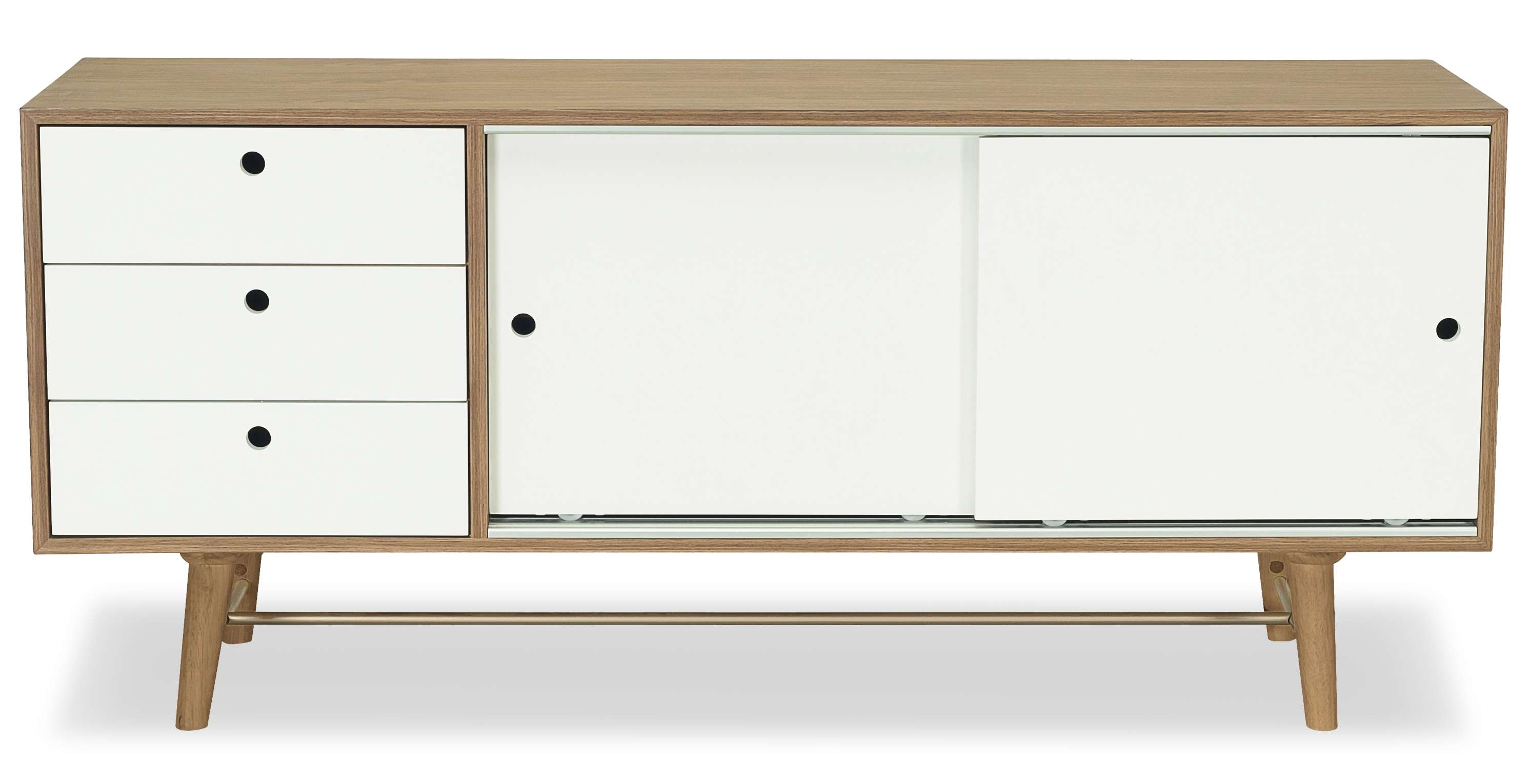 Braden Sideboard, Walnut And White Fern & Grey Throughout Sideboards (View 3 of 20)