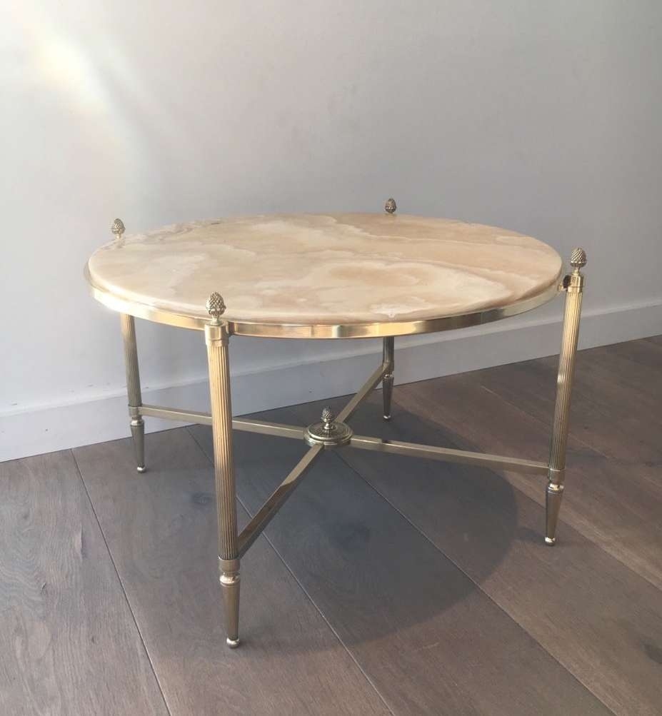 Brass And Marble Round Coffee Table From Maison Bagués, 1940s For With Regard To Famous Marble Round Coffee Tables (View 18 of 20)
