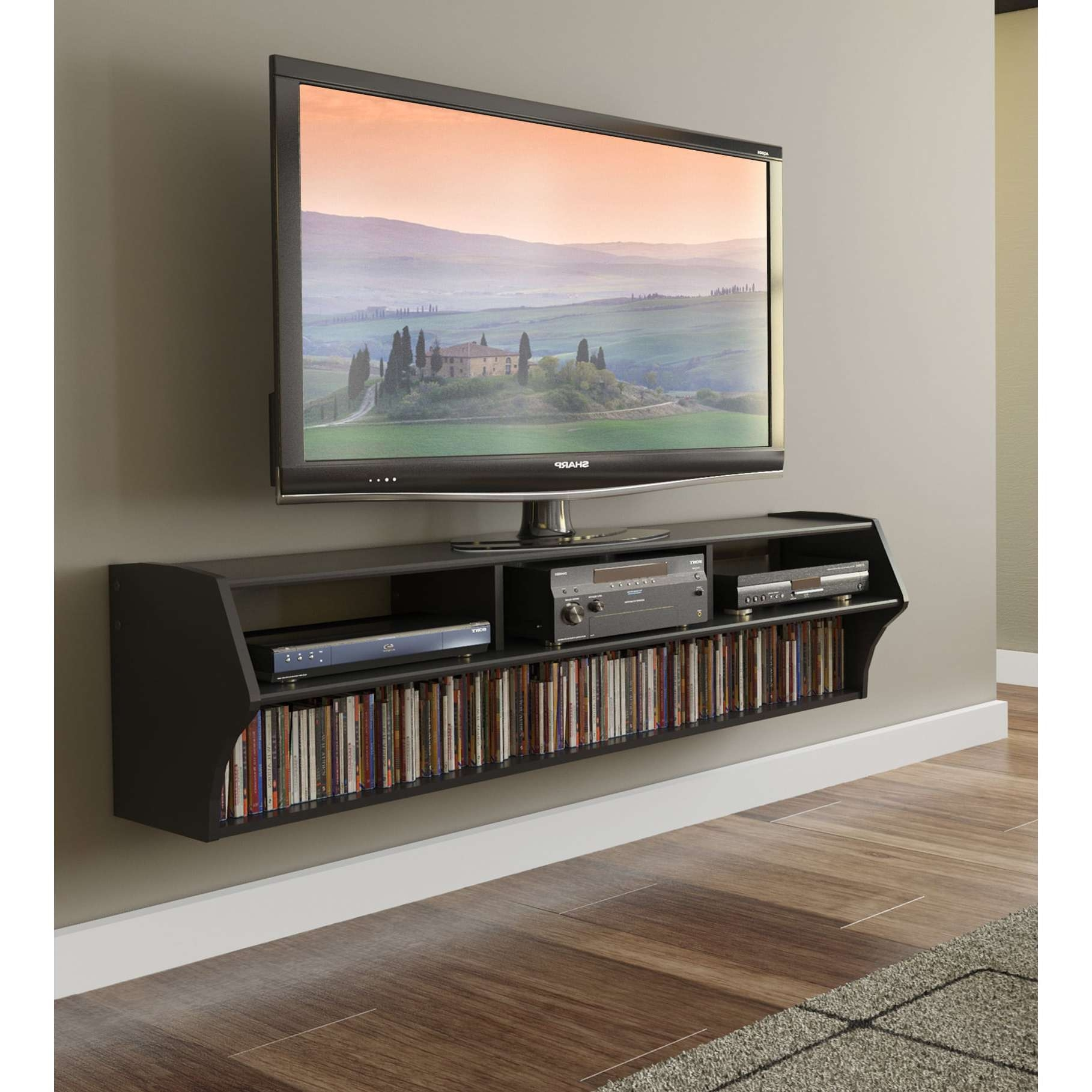 Broadway Altus Plus Black 58 Inch Floating Tv Stand – Free Intended For Floating Tv Cabinets (View 4 of 20)