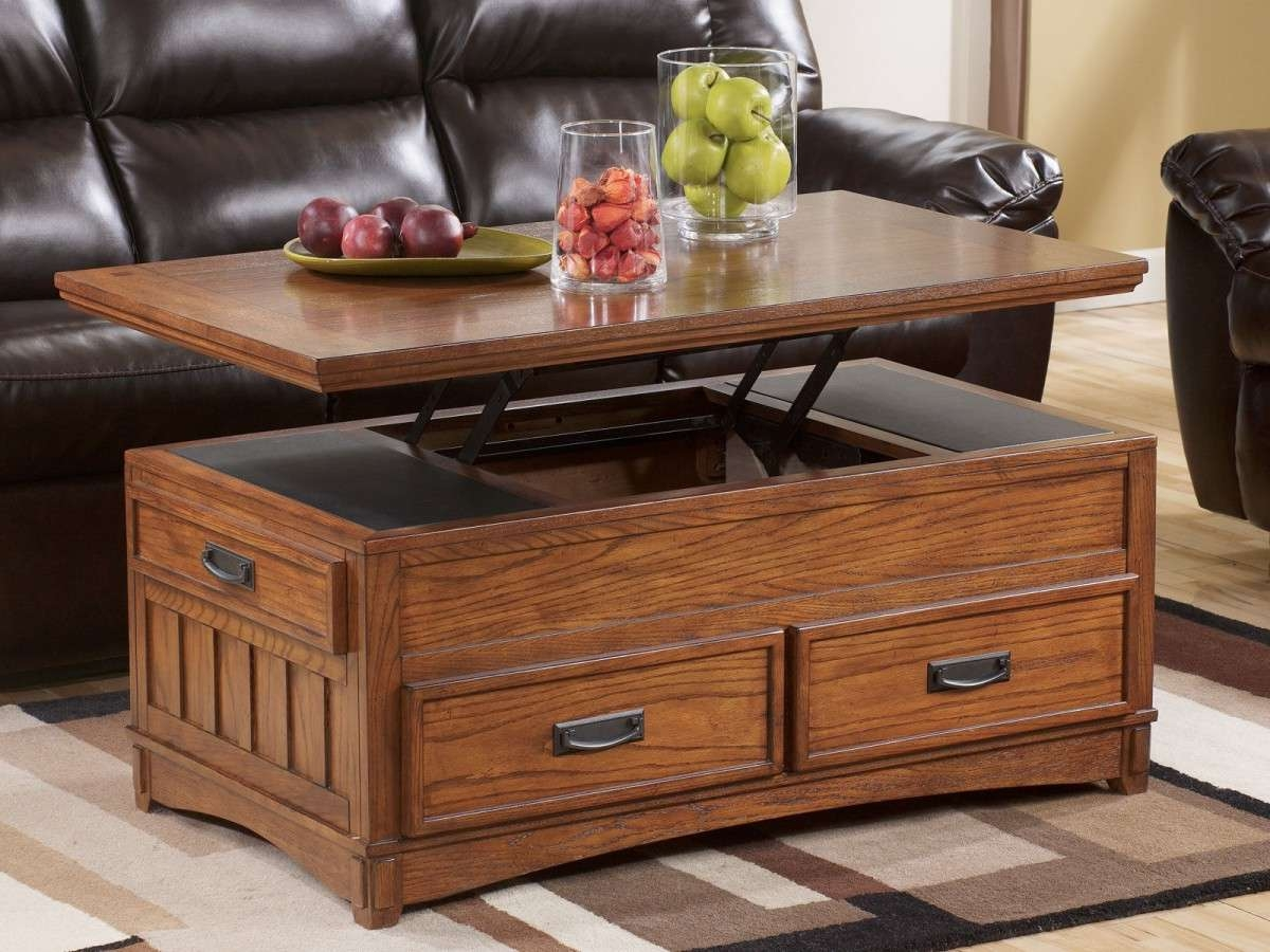 Brown Lacquered Maple Wood Lift Top Coffee Table With Storage Pertaining To Trendy Lift Top Oak Coffee Tables (View 15 of 20)