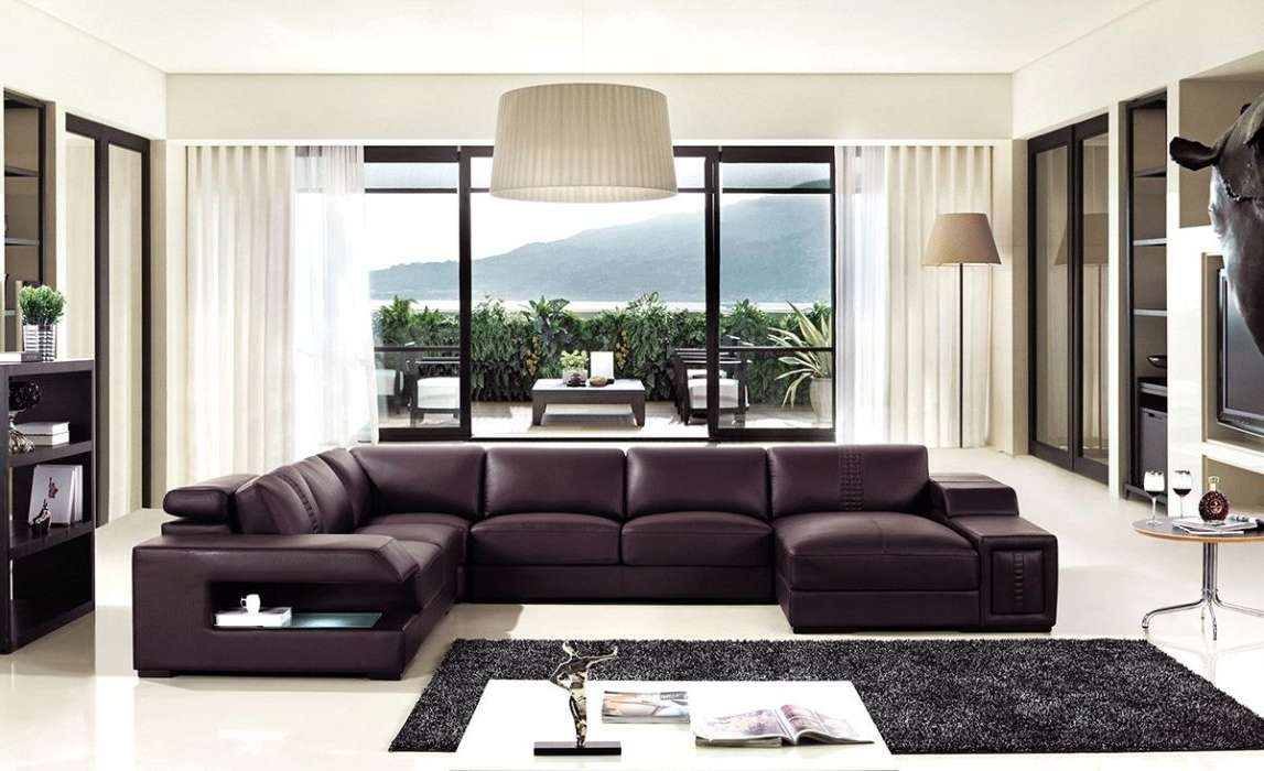 Brown Leather Sectional Sofa With Built In Coffee Table And Lights Regarding Widely Used Coffee Table For Sectional Sofa (View 15 of 20)