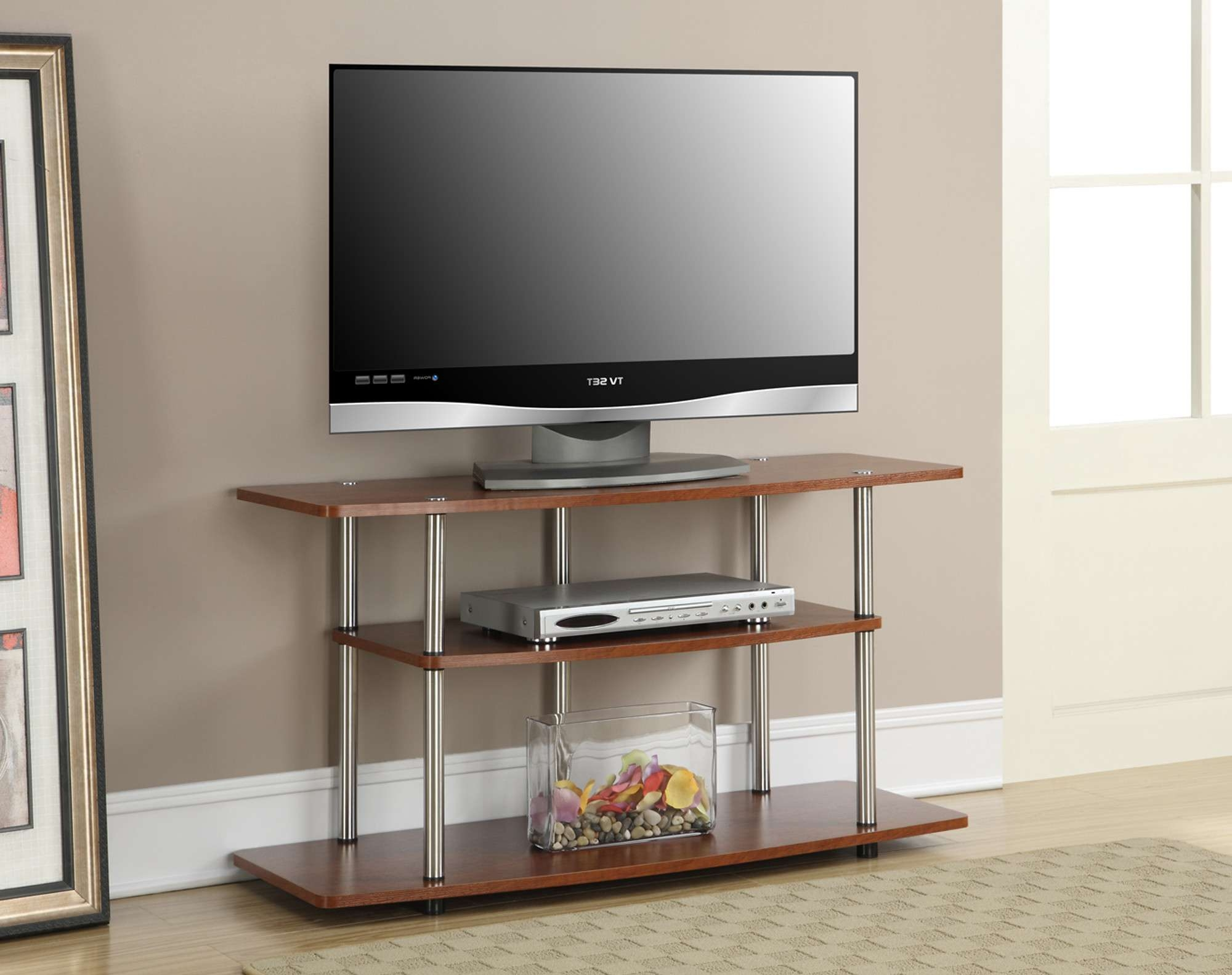 Brown Varnished Wooden Open Shelves Tv Stand With Chromed Metal Intended For Stylish Tv Cabinets (View 18 of 20)