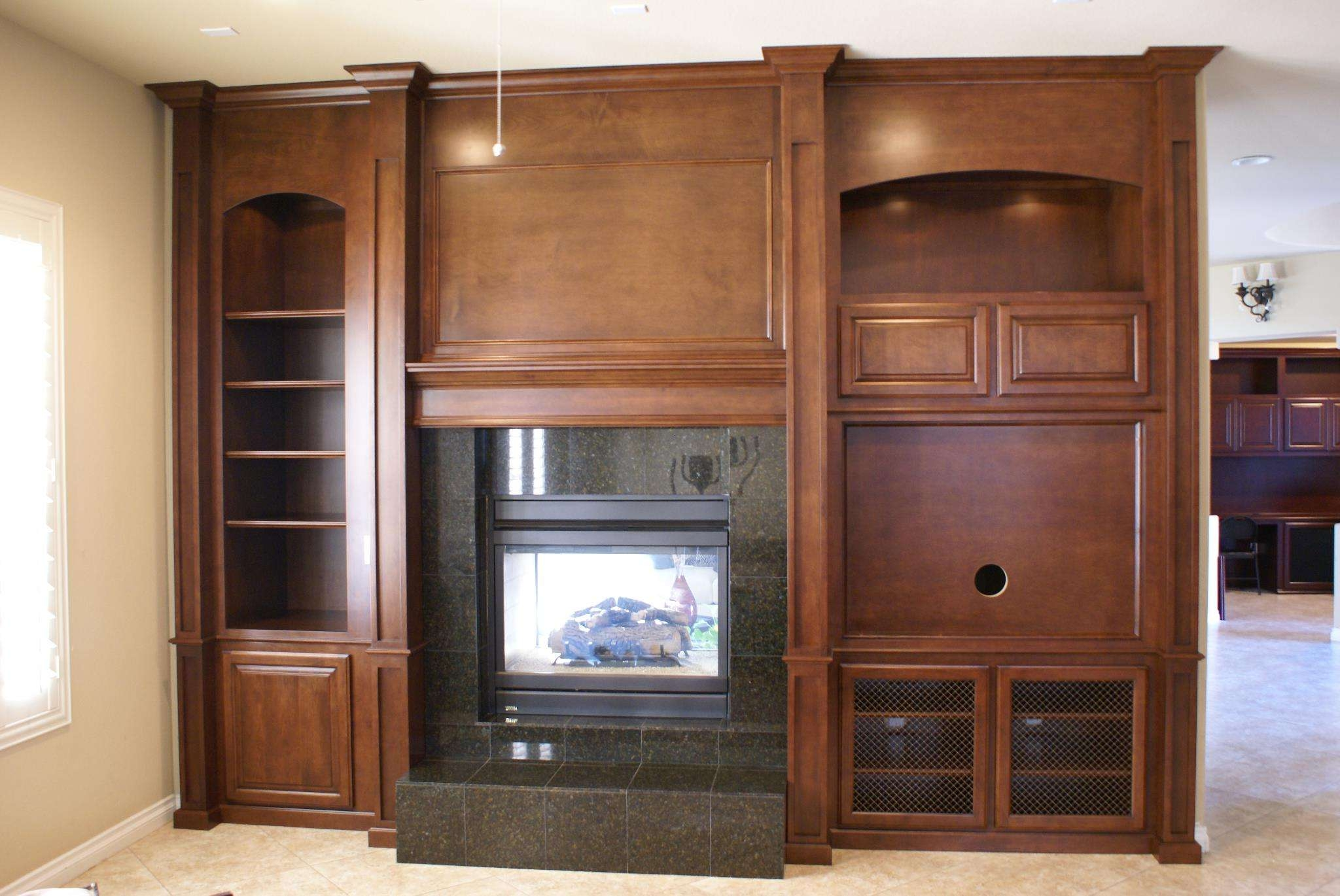 Brown Wooden Polished Wooden Cabinet With Shelves And Black Inside Enclosed Tv Cabinets With Doors (View 2 of 20)